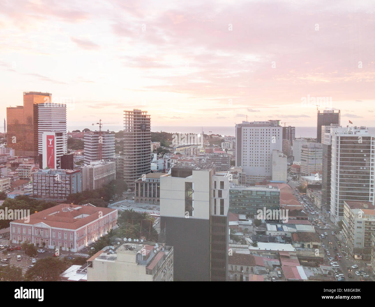 LUANDA, ANGOLA - MARCH 11, 2018: Construction continues in the Angolan capital of Luanda despite ongoing economic - Stock Image