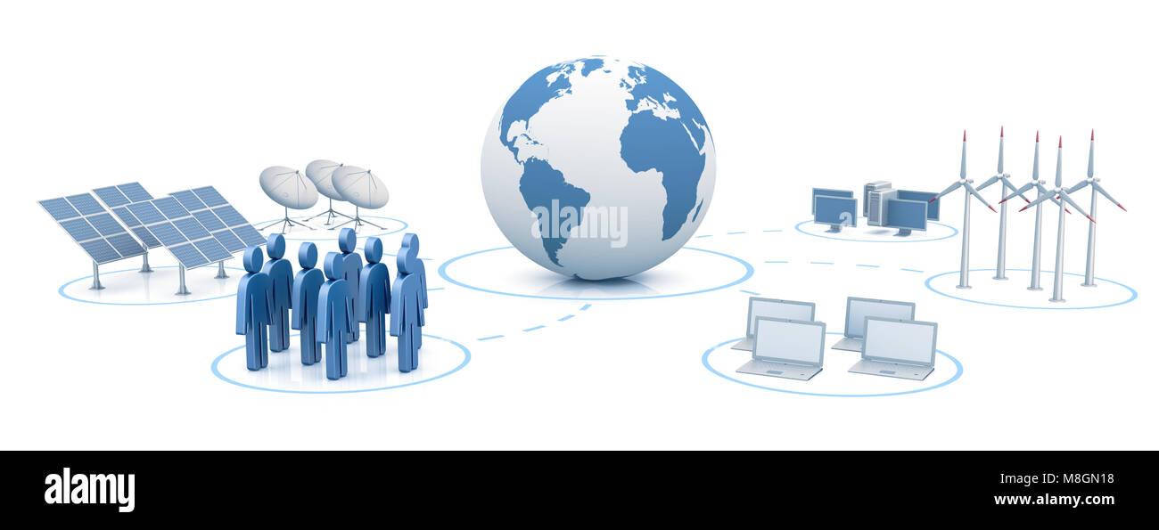 Global digital network 3d rendering - Stock Image