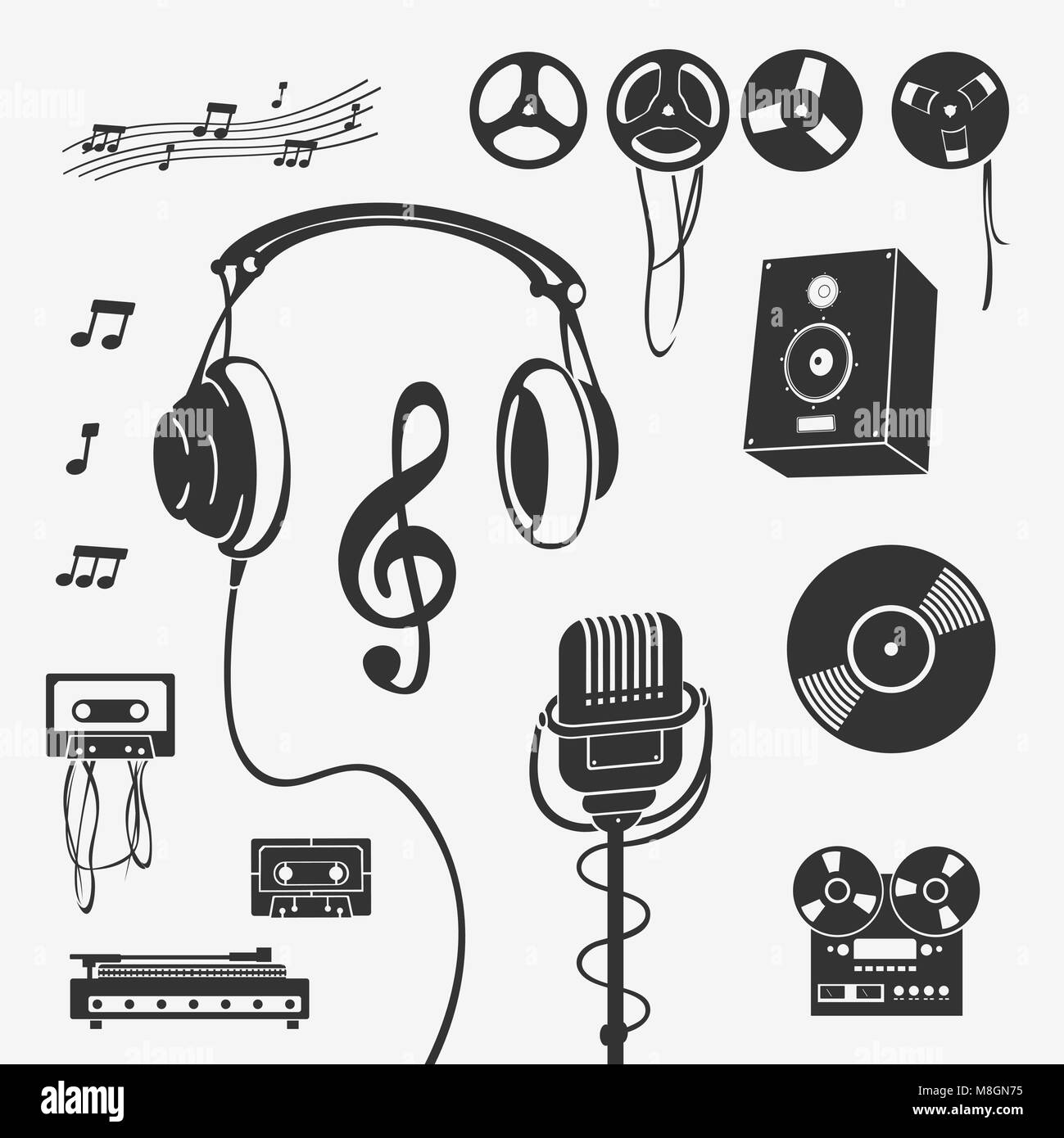 Set Of Symbols Musical Instrument Stock Vector Art Illustration