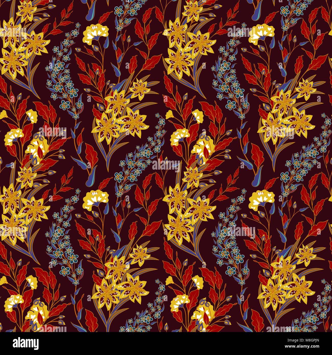 Vintage Seamless Floral Pattern On A Black Background Spring