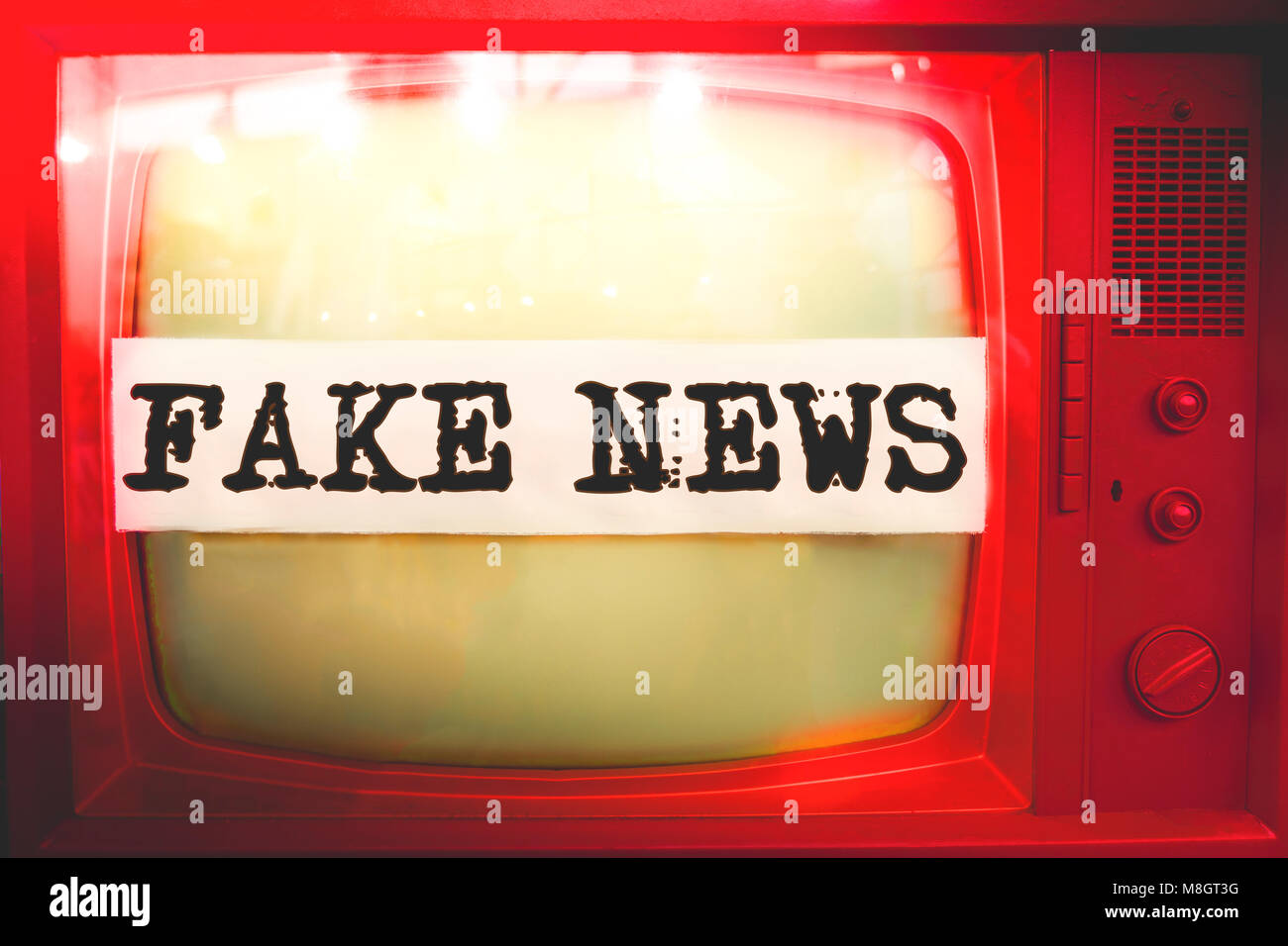 fake news red old tv text vintage retro - Stock Image