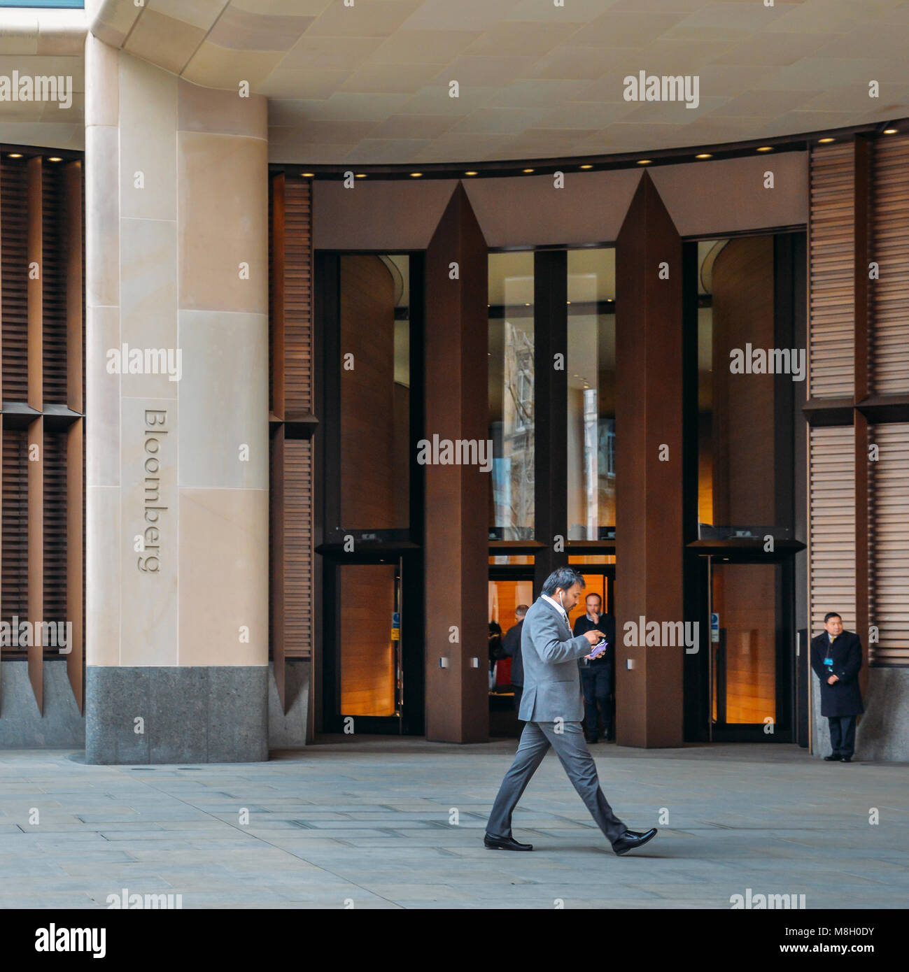 London, UK- Mar 13, 2018: Front external view of the of the entrance to the new Bloomberg European head office, Stock Photo