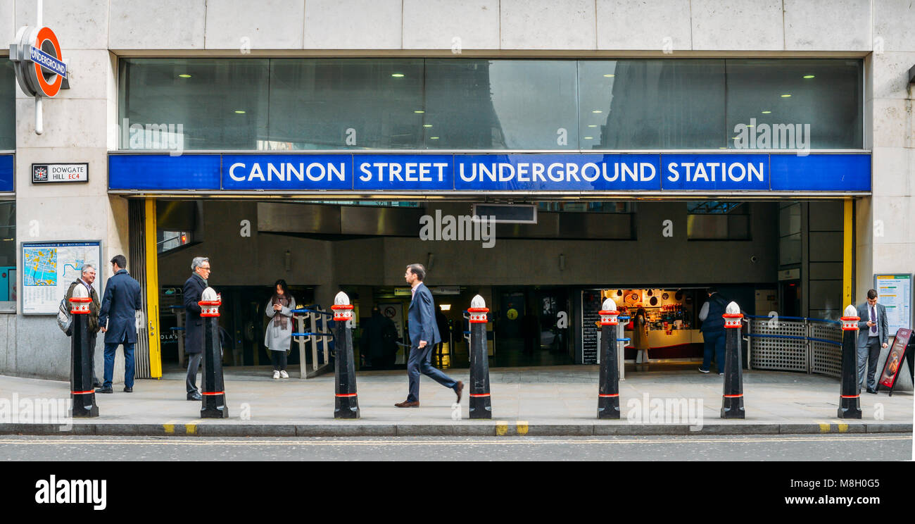 City of London office workers outside Cannon Street Underground Station servicing District and Circle Lines in the - Stock Image