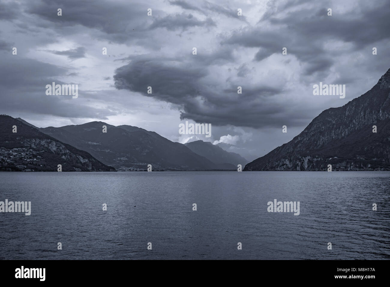 Summer storm over the lake - Lago d'Iseo - Italy - Stock Image