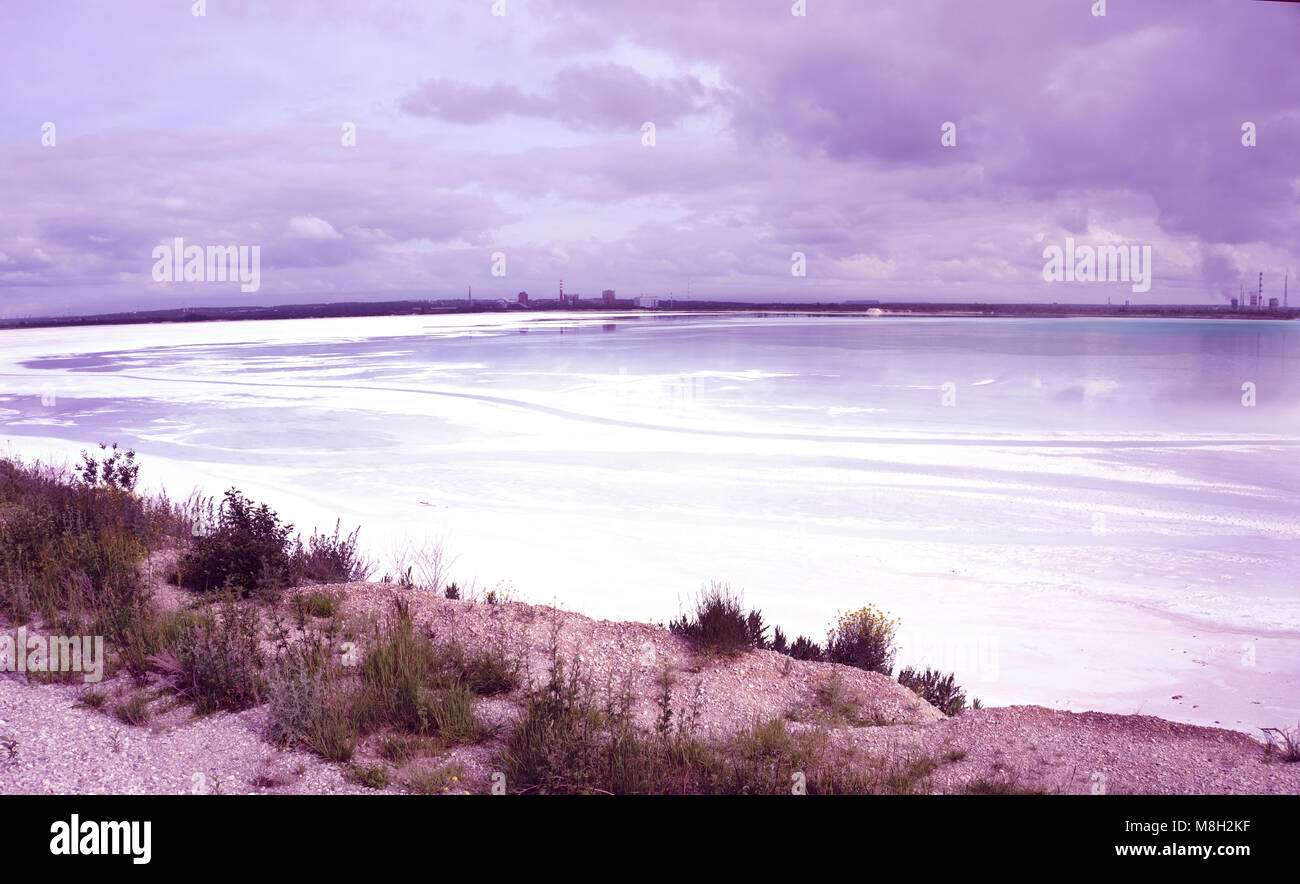 the lake is the discharge of industrial waste poisoned the water of an industrial enterprise dirty water . - Stock Image