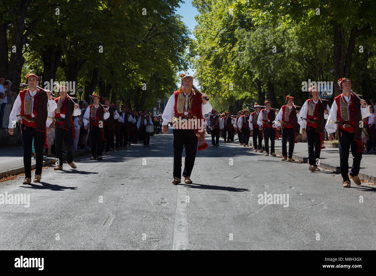 Alkar's squires marchin during Miraculous Lady of Sinj procession, Croatia - Stock Image