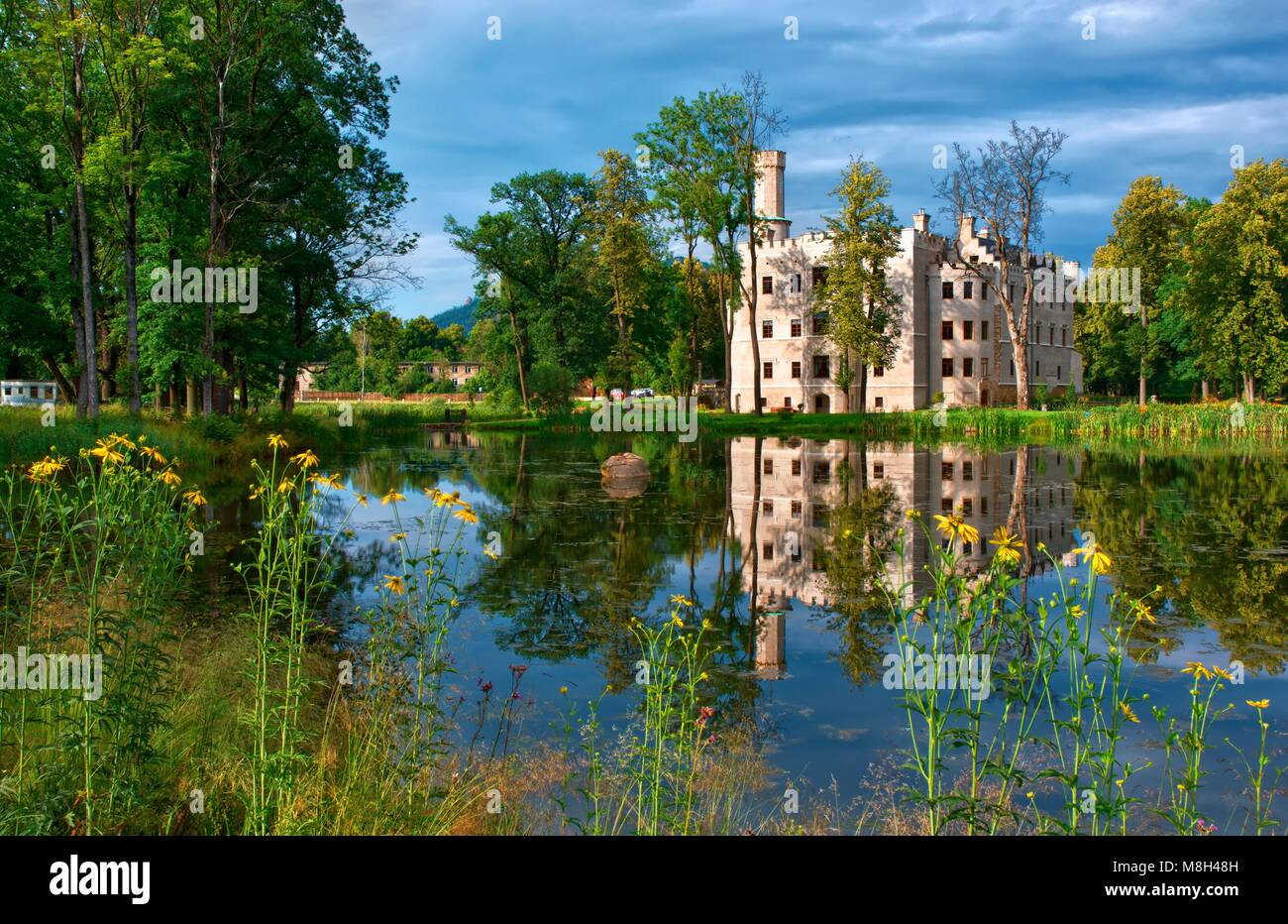 Neo Gothic Style Castle Surrounded By An English Landscape Garden