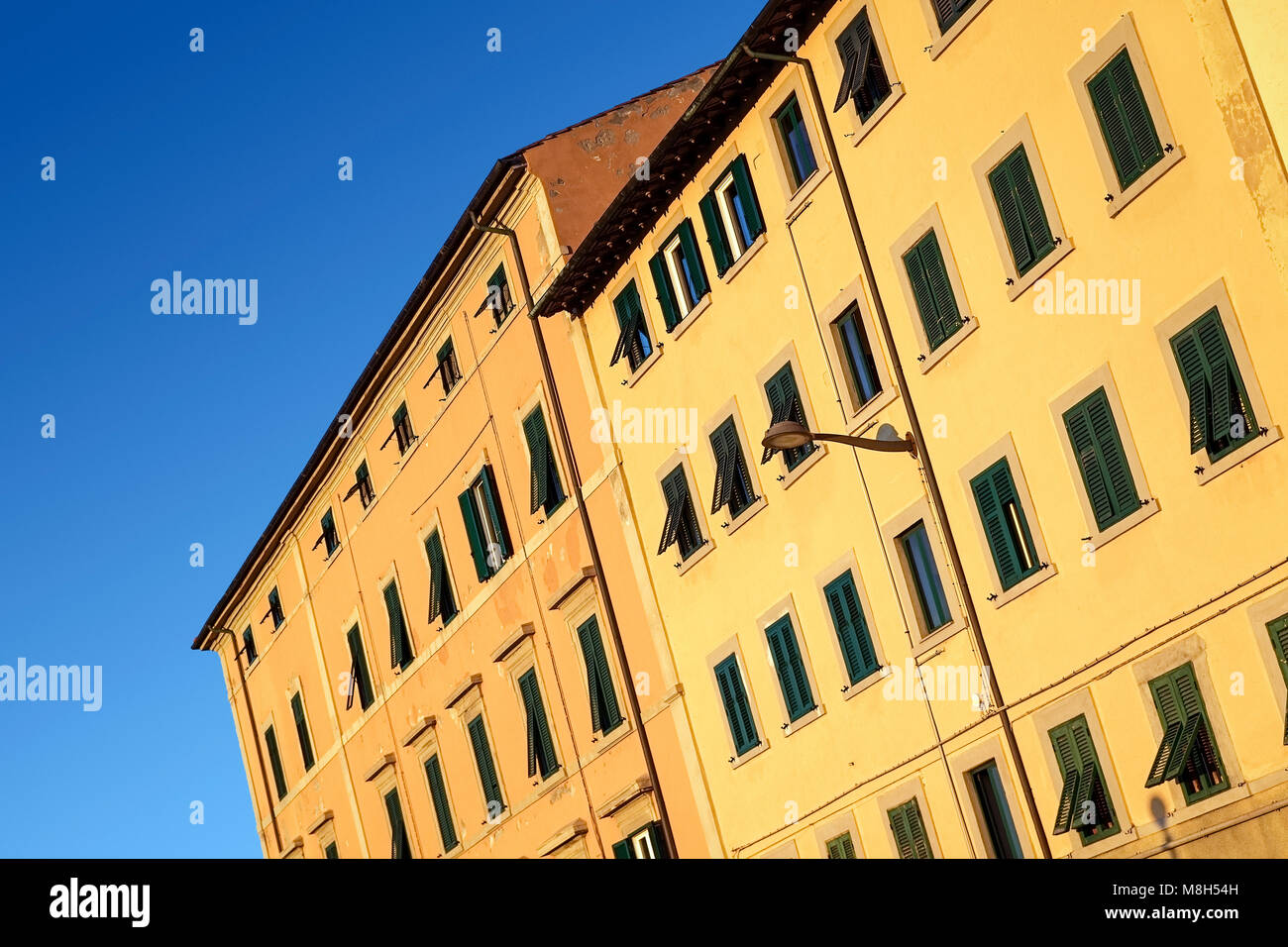Colorful apartment buildings, Livorno, Italy - Stock Image