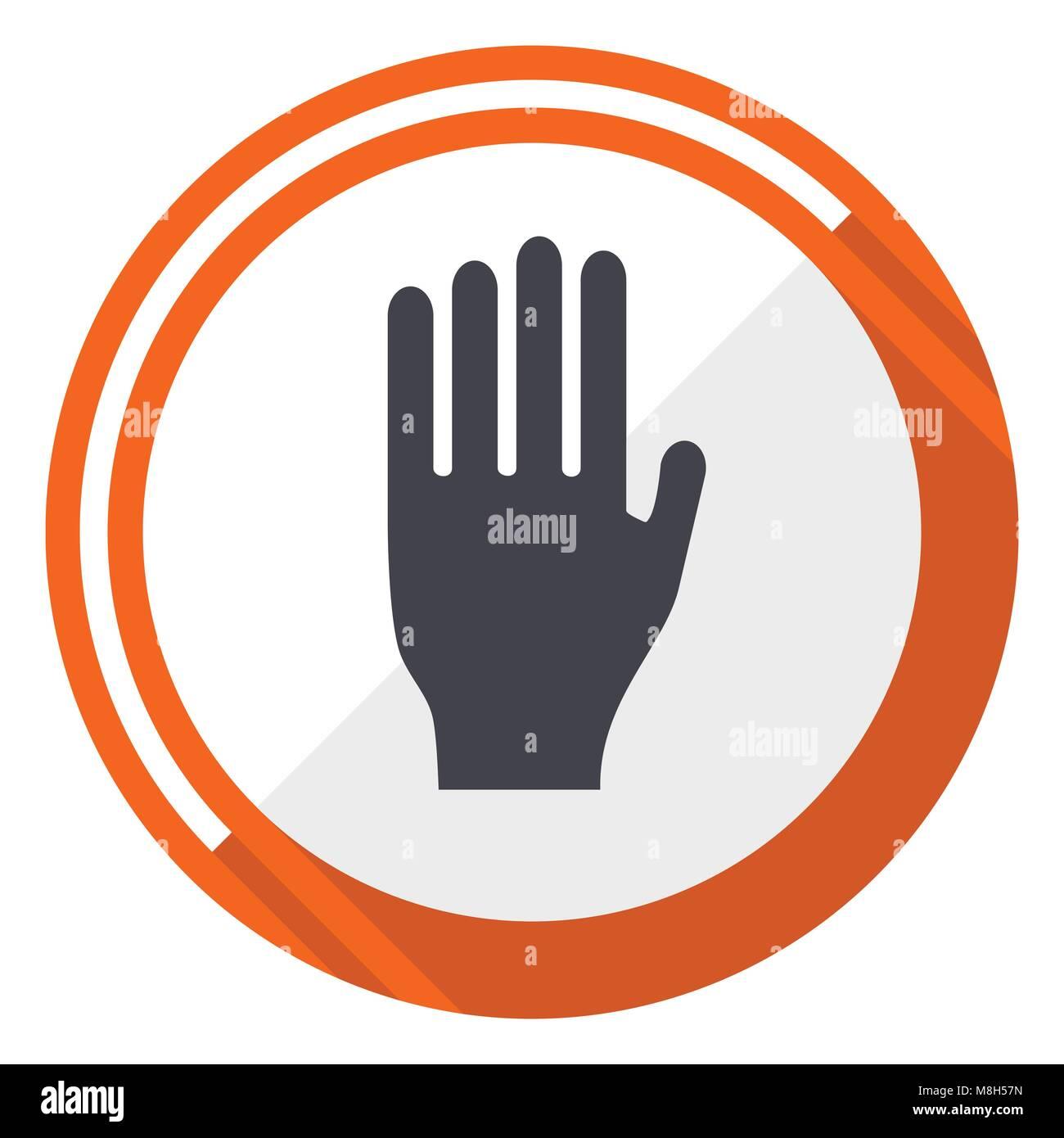 Stop orange flat design vector web icon - Stock Image