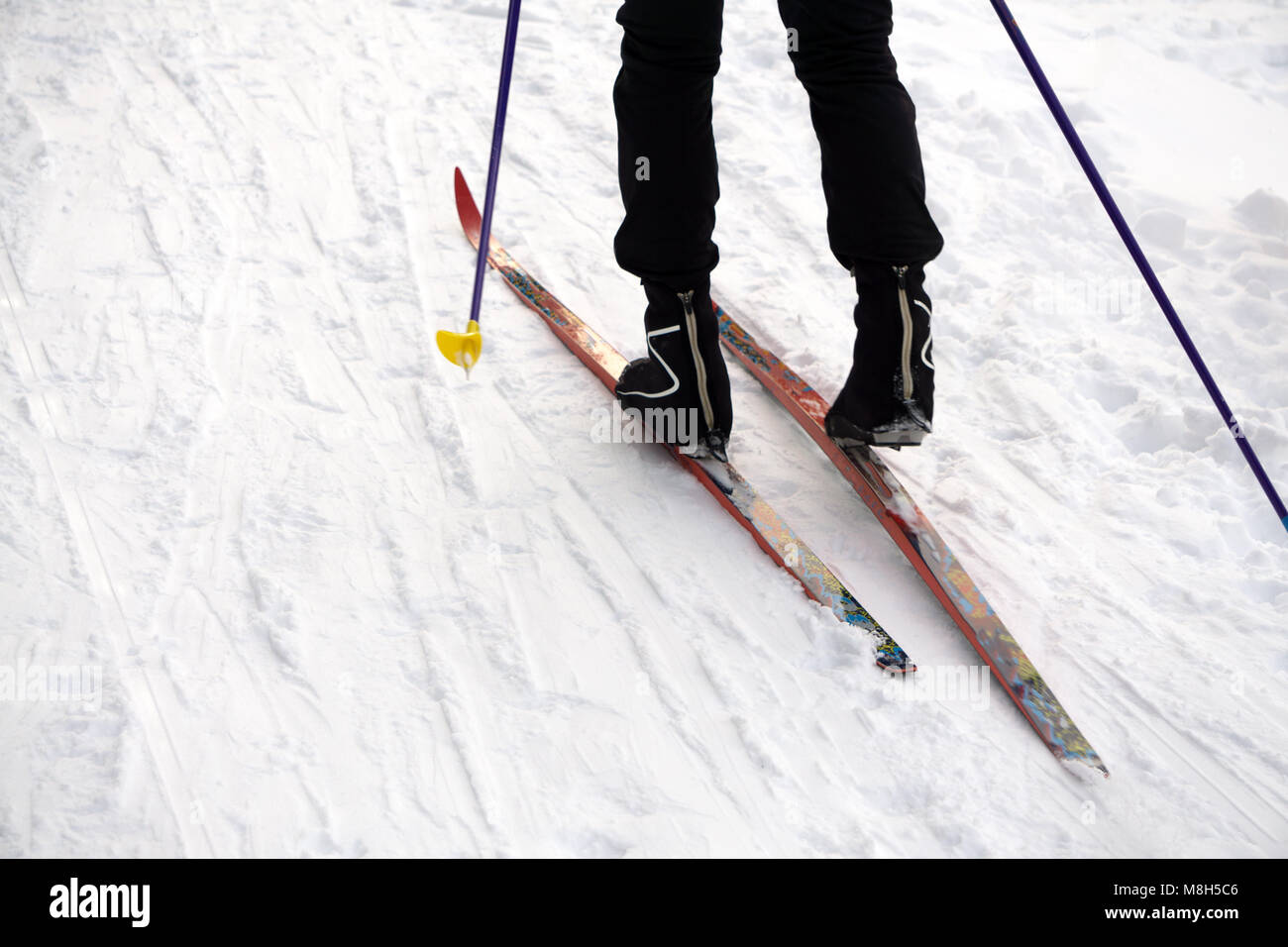 ski slope, skier in winter forest background . - Stock Image