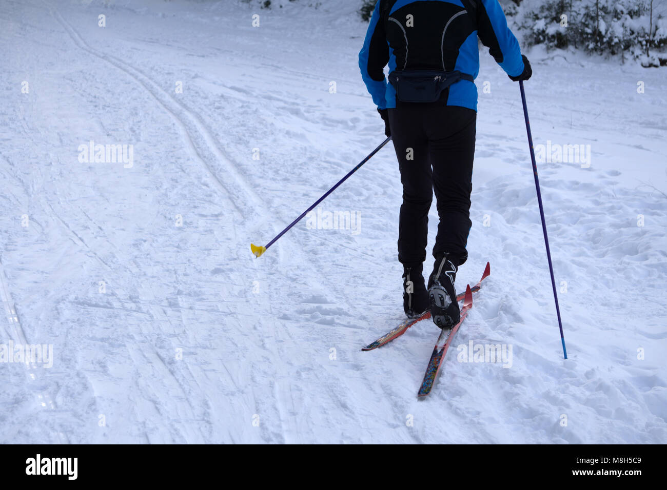 Cross-country skiing skating technique practiced by man . - Stock Image