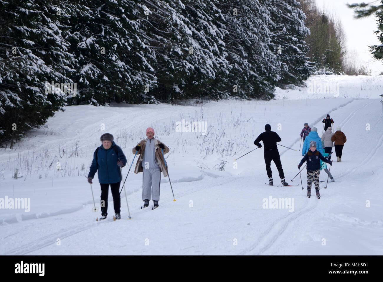Children skiing in the woods - Russia Berezniki 16 Dec 2017 . - Stock Image