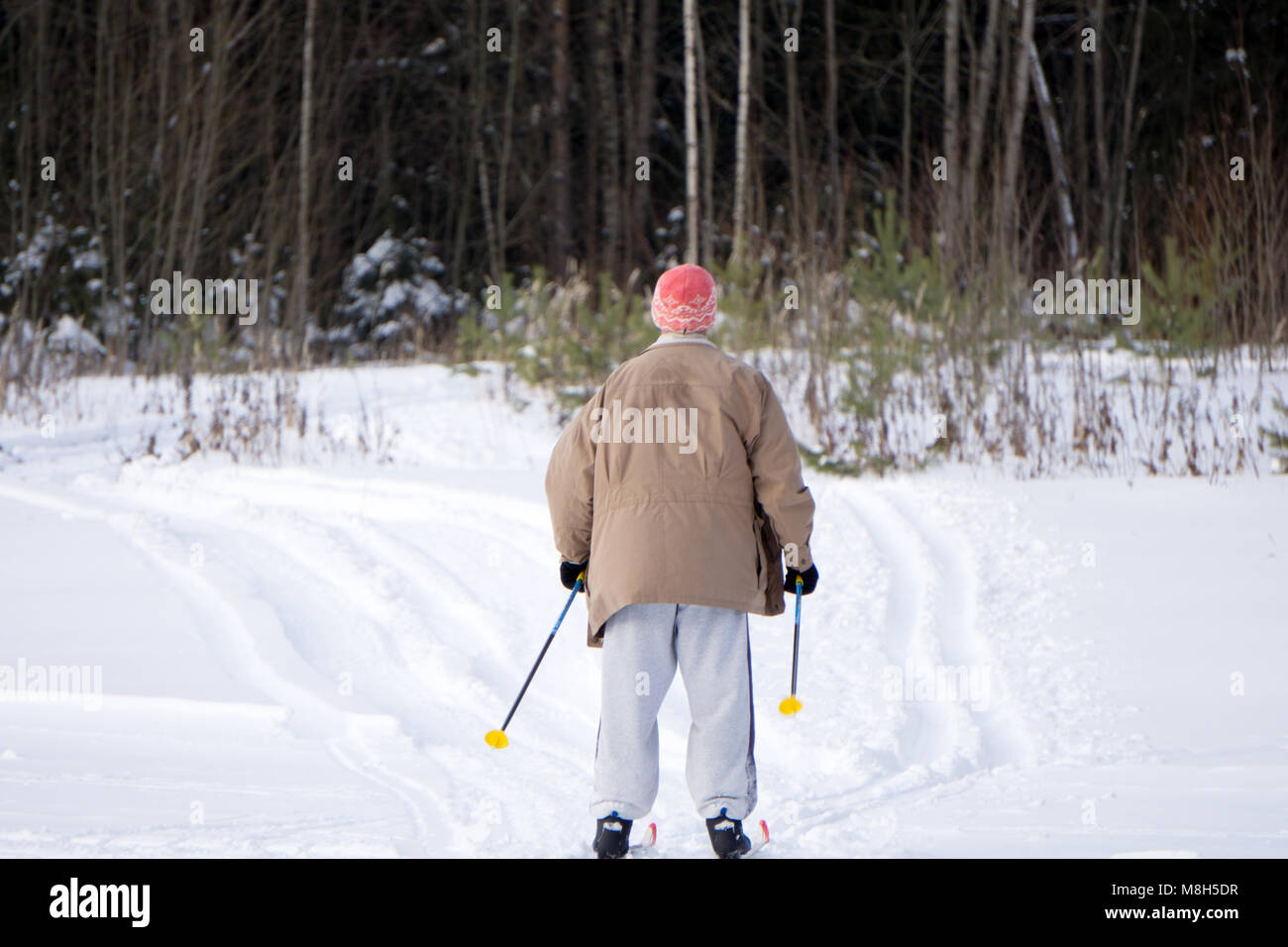 senior man with skis in the snow - Stock Image