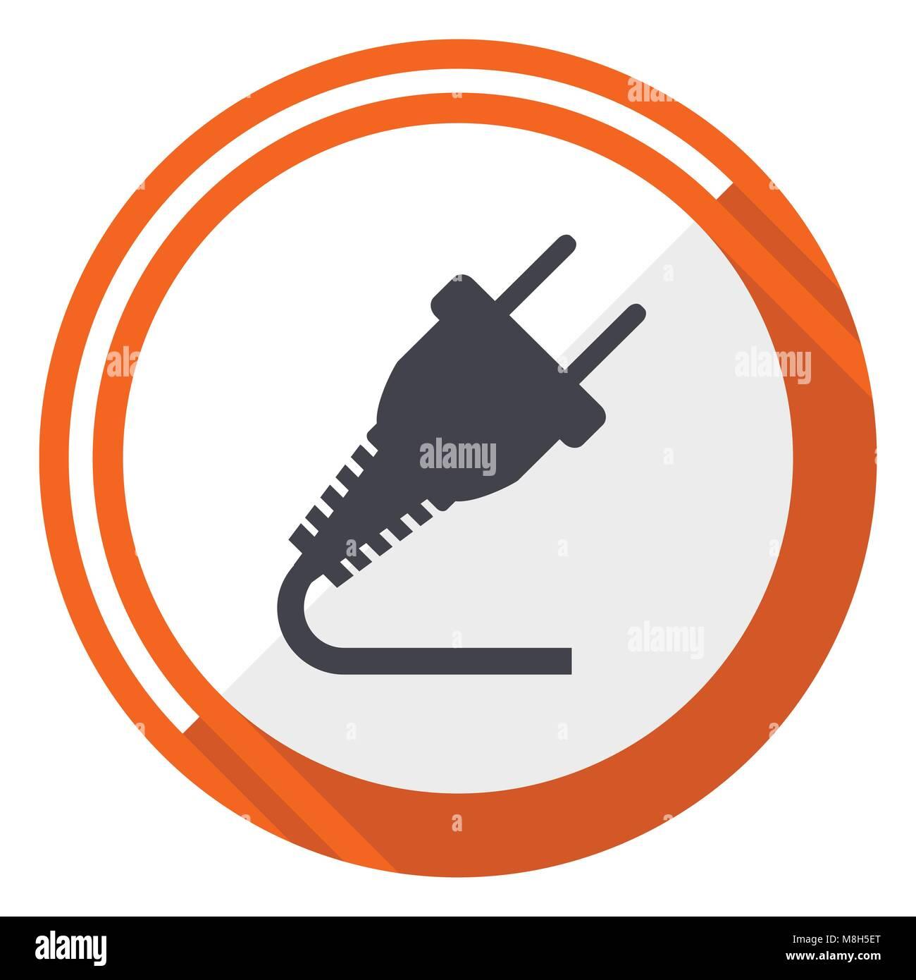 Electric Car Engine Diagram Stock Photos Plug Orange Flat Design Vector Web Icon Image
