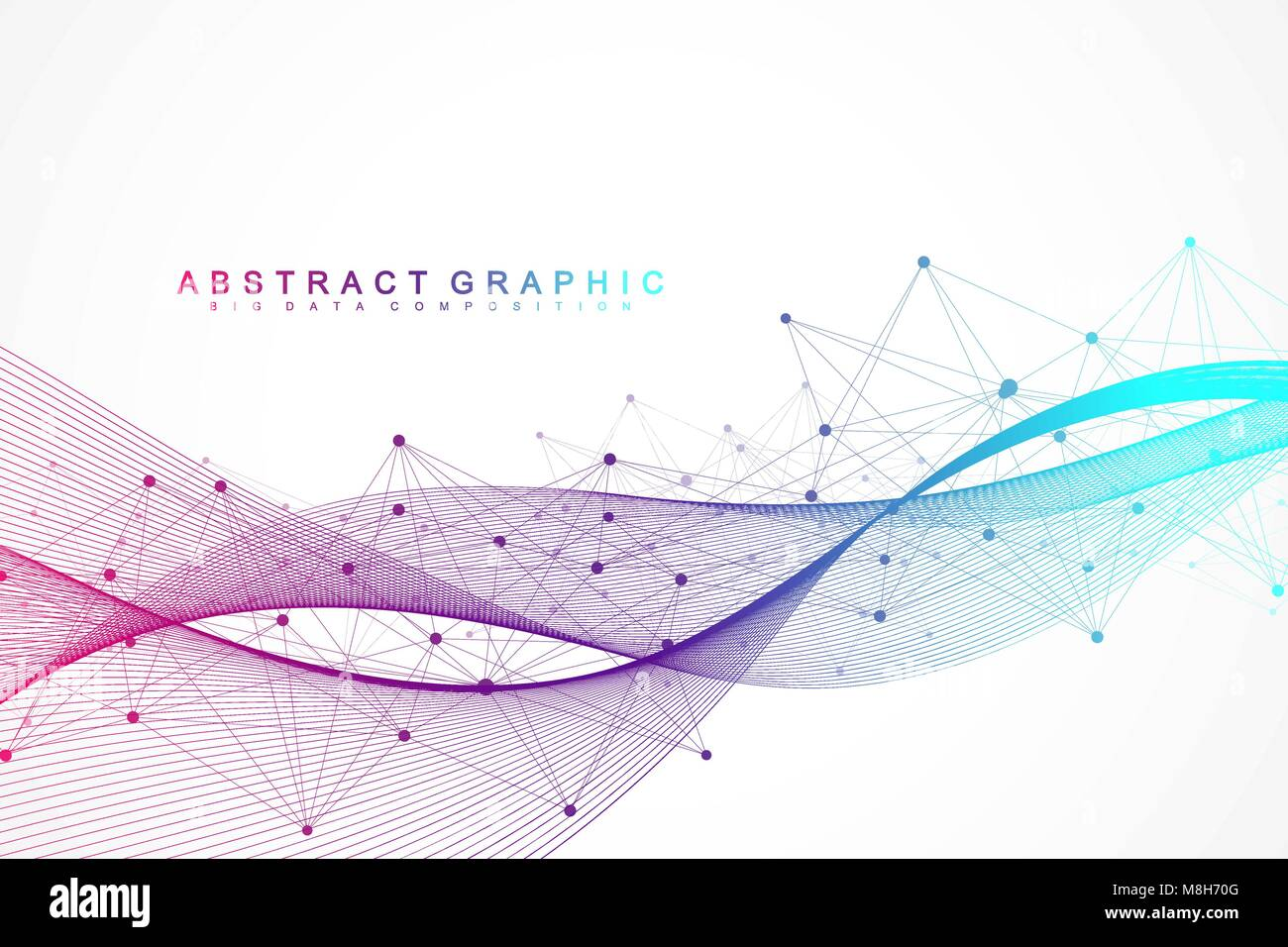 Geometric abstract background with connected lines and dots. Wave flow. Molecule and communication background. Graphic - Stock Image