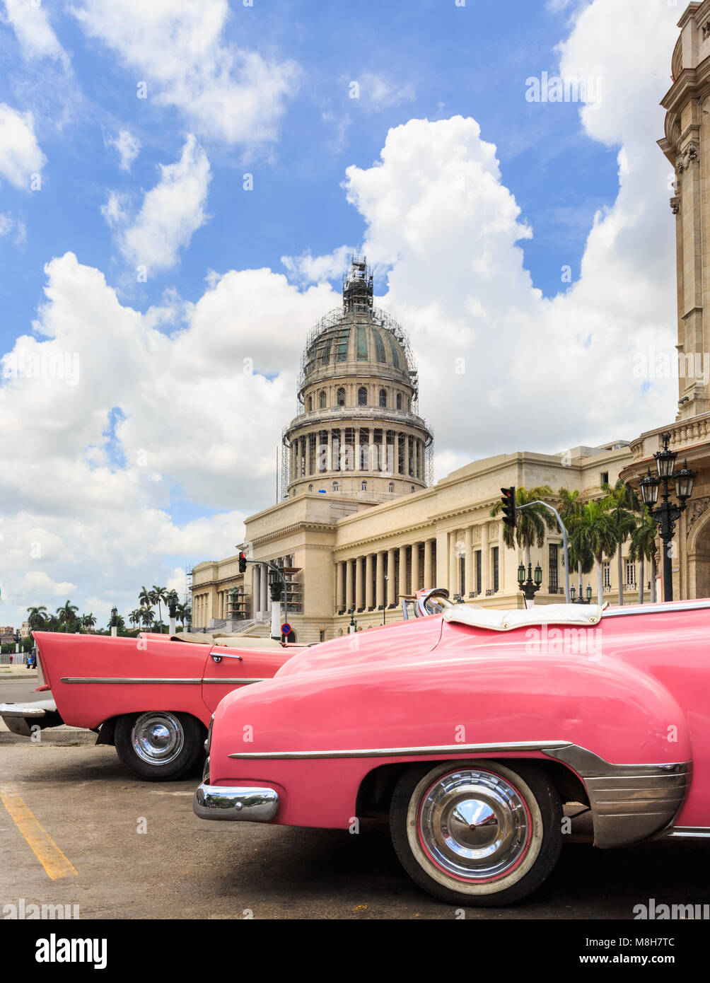 Classic cars in pink and view towards El Capitolio, the capitol ...