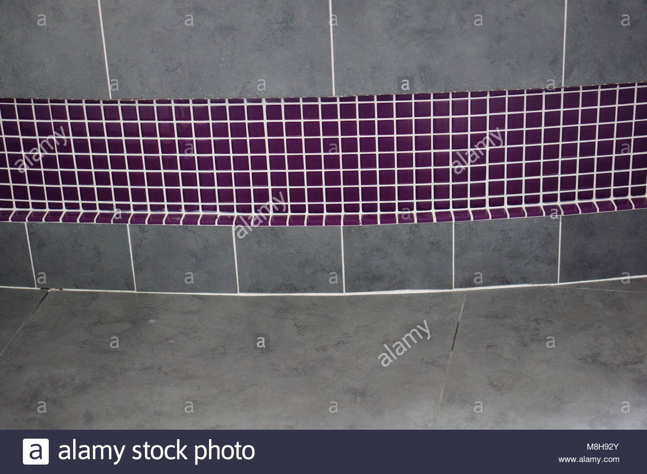 Large Gray And Purple Mosaic Bathroom Tiles Stock Photo 177401251 - Purple-mosaic-bathroom-tiles