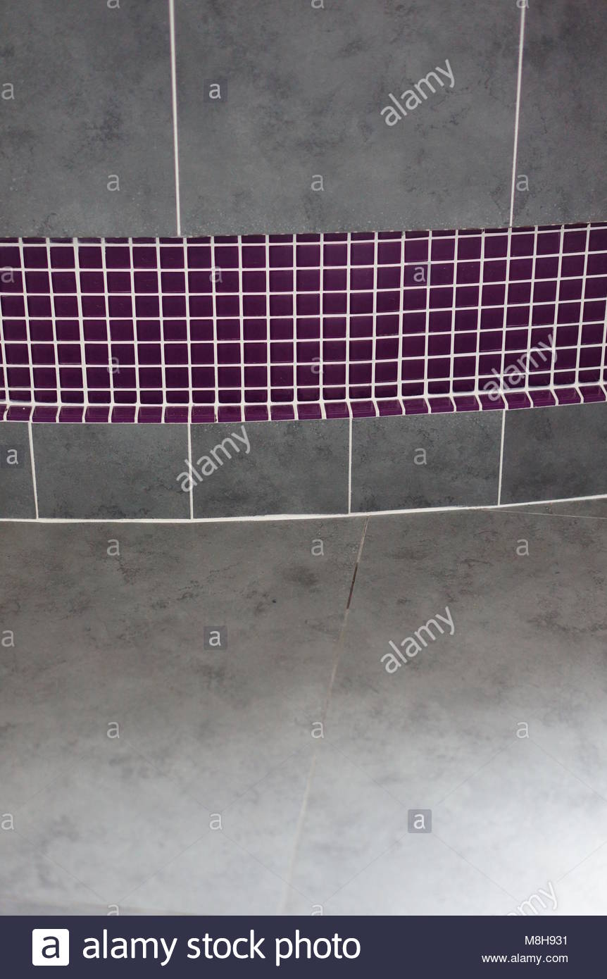 Large Gray And Purple Mosaic Bathroom Tiles Stock Photo 177401253 - Purple-mosaic-bathroom-tiles