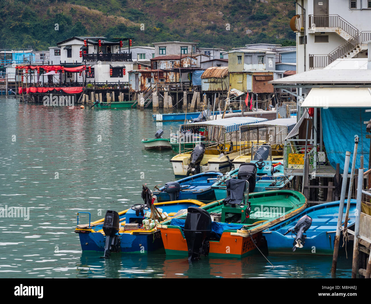 Tai O fishing village on Lantau Island Hong Kong, famous for its stilted buildings over the harbour - Stock Image