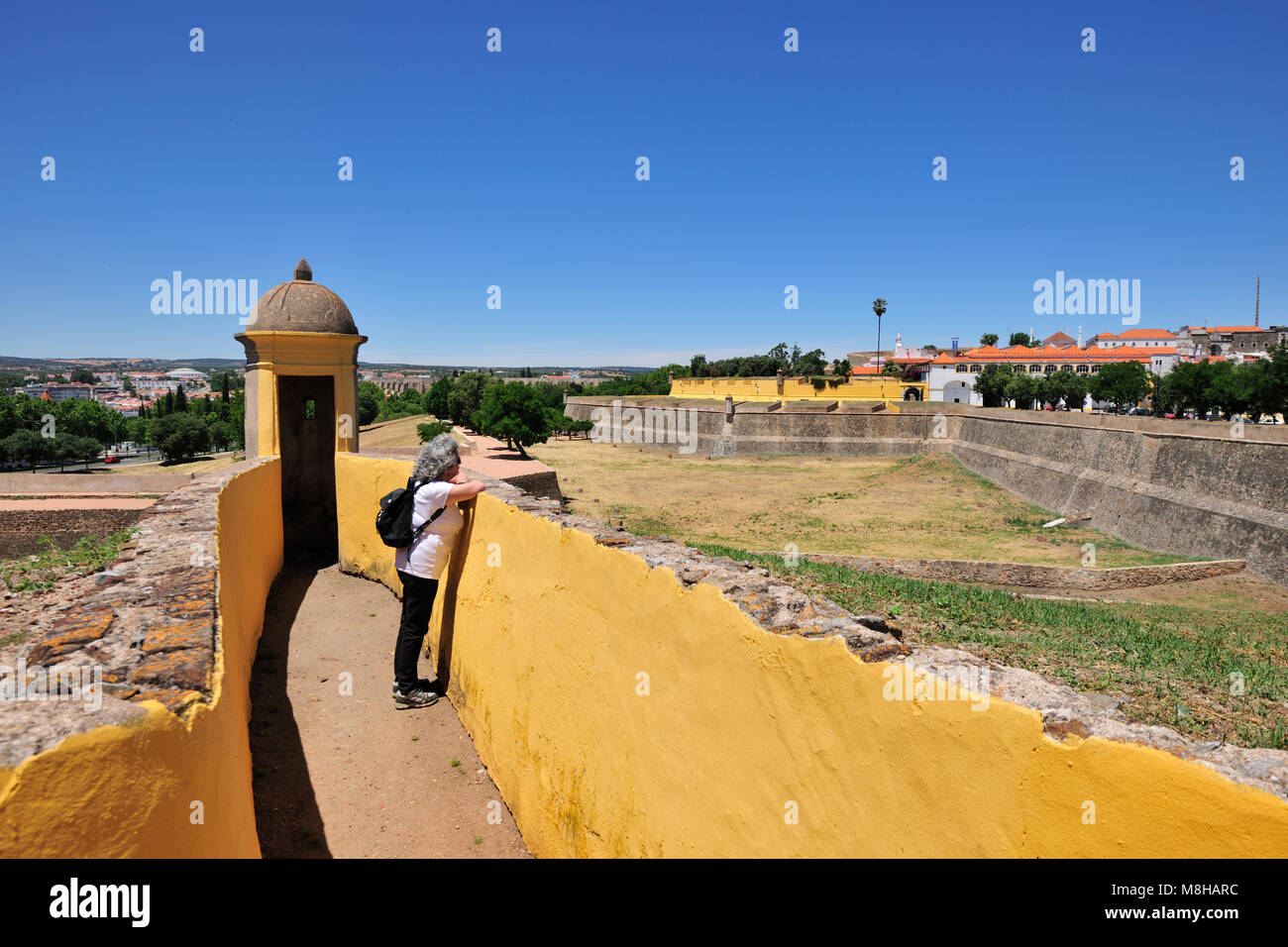 The fortifications of Elvas, dating from the 17th century. These bastions surround all the city, making them the - Stock Image