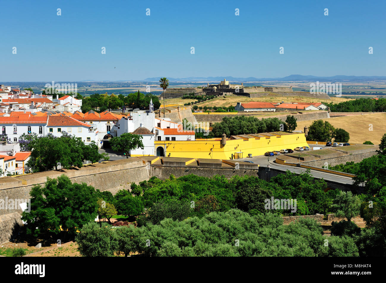 The fortifications of Elvas, dating from the 17th century, with the Santa Luzia fort outside the city. These bastions - Stock Image