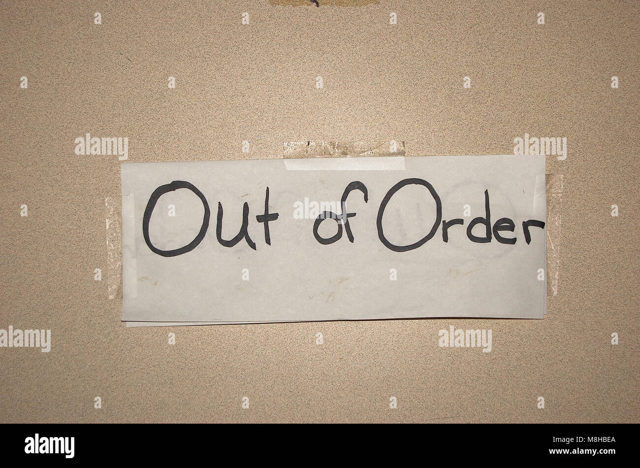 Out Of Order Sign In A Public Bathroom Stall Stock Photo 177403138