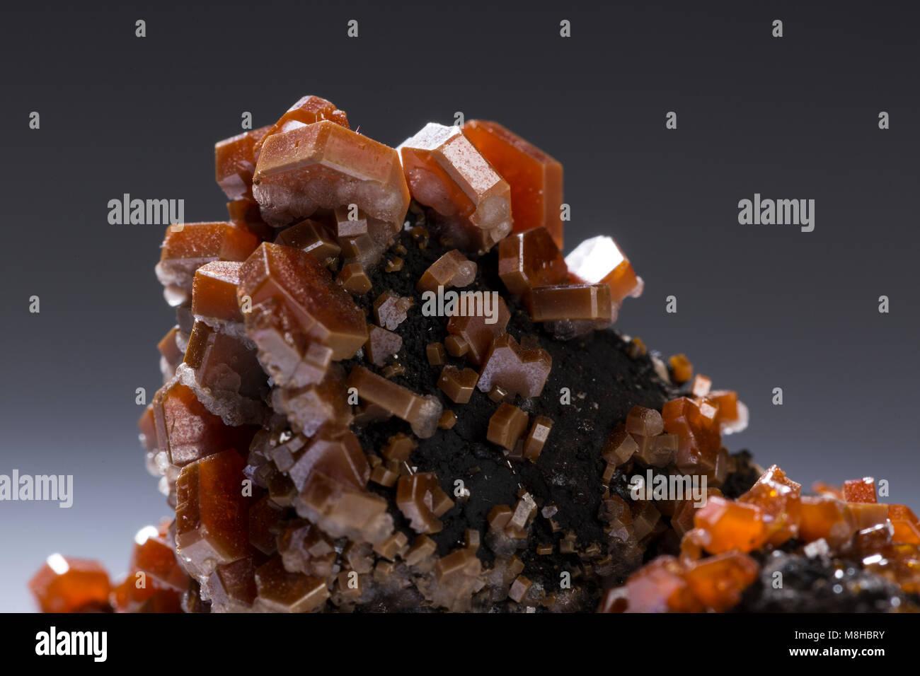 vanadinite mineral stone specimens rock geology minerals. - Stock Image