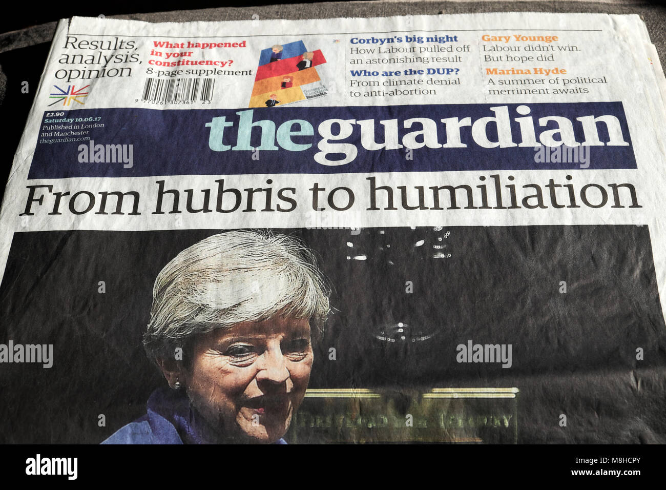 """""""From hubris to humiliation""""  Theresa May after election in 10 June 2017 Guardian newspaper London England UK Stock Photo"""