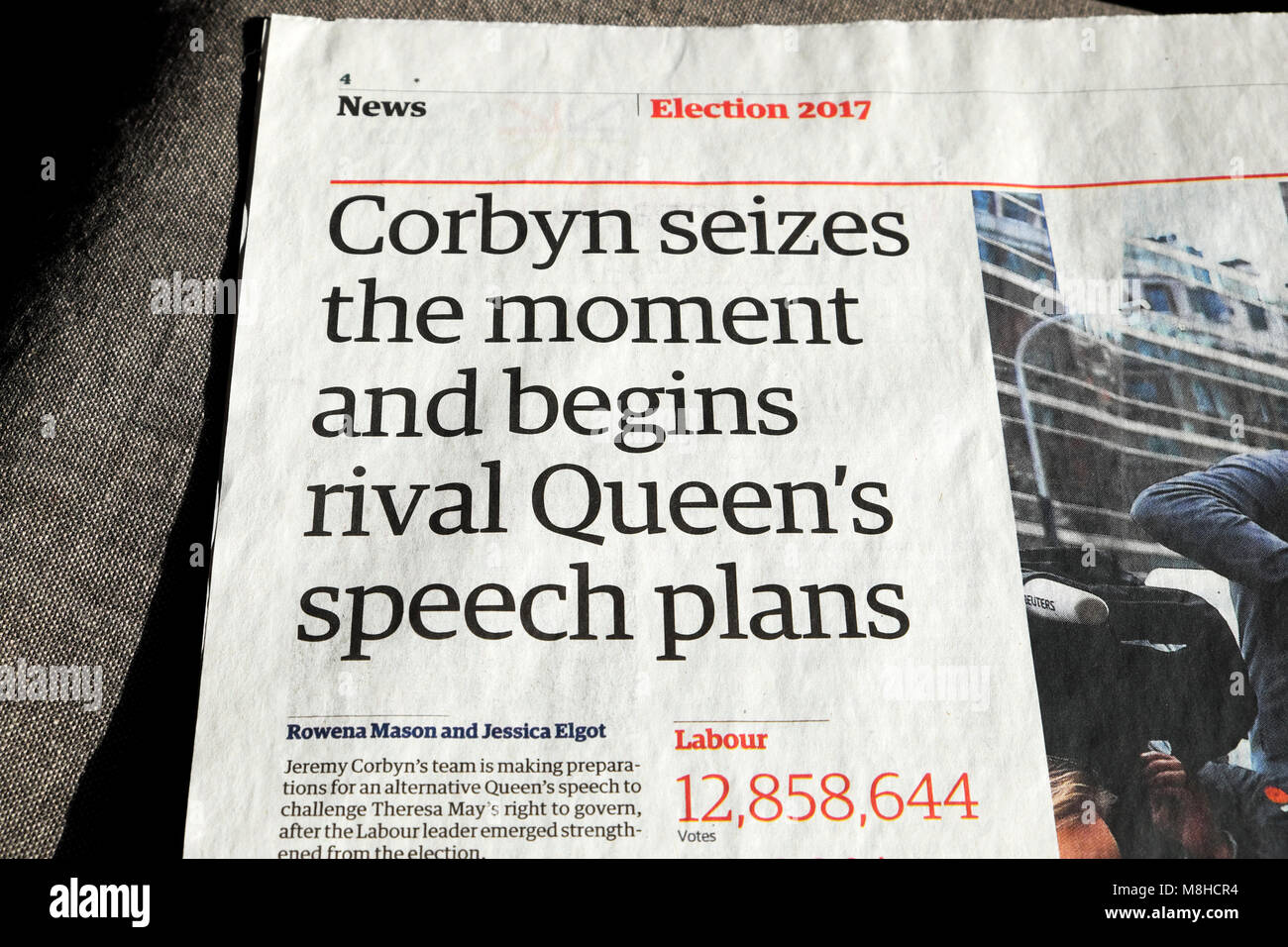 'Corbyn seizes the moment and begins rival Queen's speech plans' . article in the Guardian newspaper - Stock Image