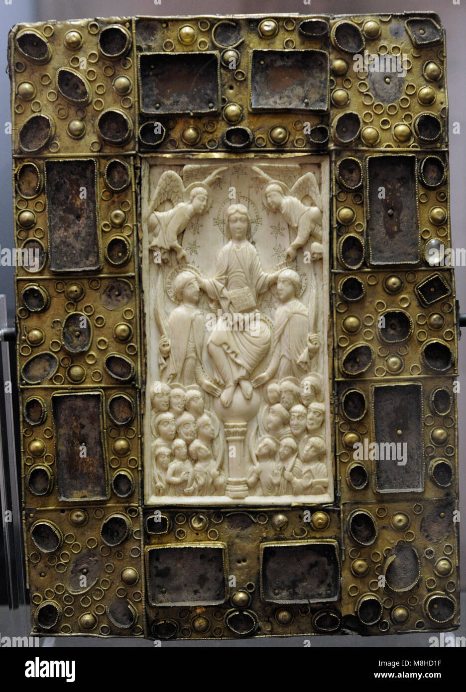Gereon and Viktor panel. Front: Christ as the Ruler of the World with the martyrs St. Gereon and St. Viktor and - Stock Image