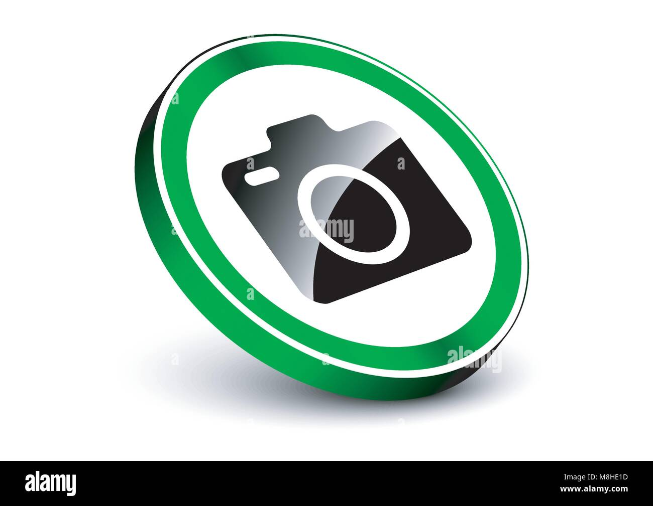 design vector of camera allowed 3d sign - Stock Image