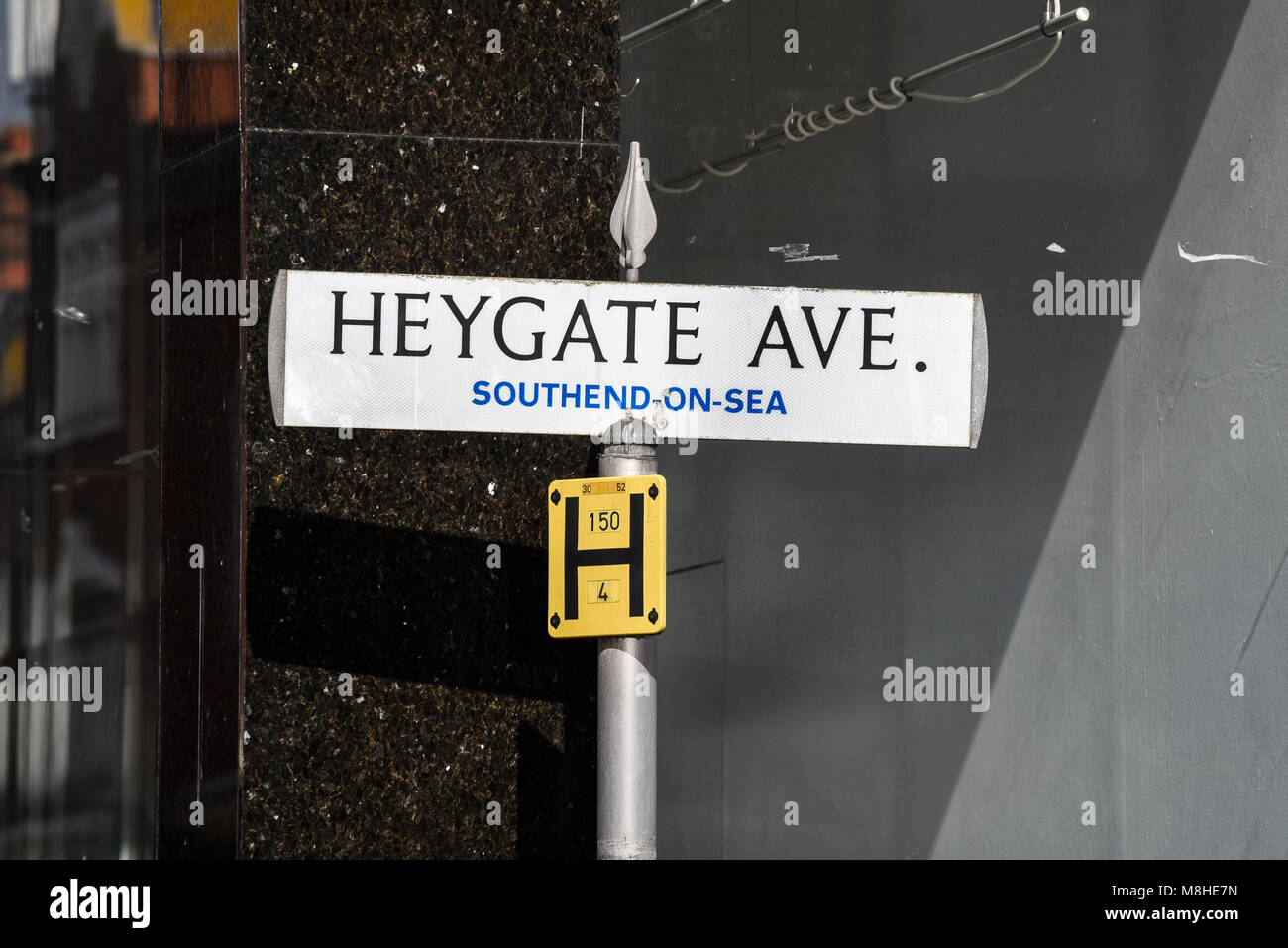 Heygate Avenue, Southend on Sea, Essex. Street sign, road sign, signpost. Sign post. Named after Sir William Heygate, - Stock Image