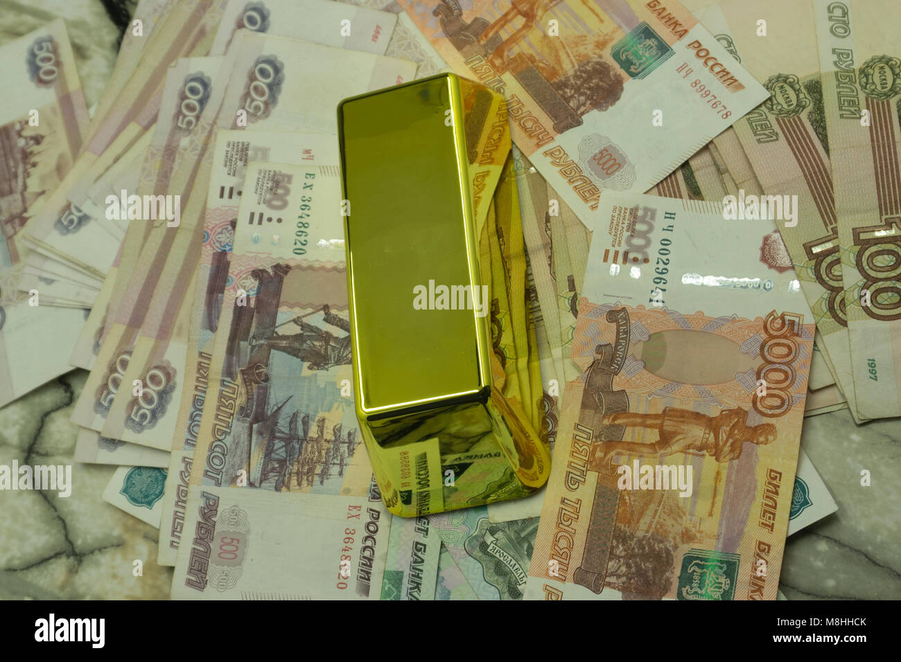 Background with money american hundred dollar bills, Russian ruble, Thai baht, new crypto currency golden bitcoin - Stock Image
