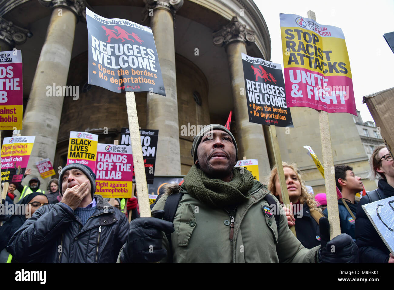 London, UK. 17 March 2018. Thousands assembly at the front of BBC boardcasting house March Against Racism highlight - Stock Image