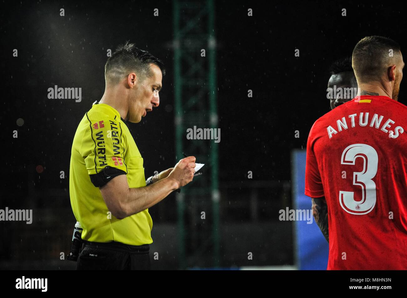 The referee Xavier Estrada during the Spanish league football match between Real Sociedad and Getafe at the Anoeta - Stock Image
