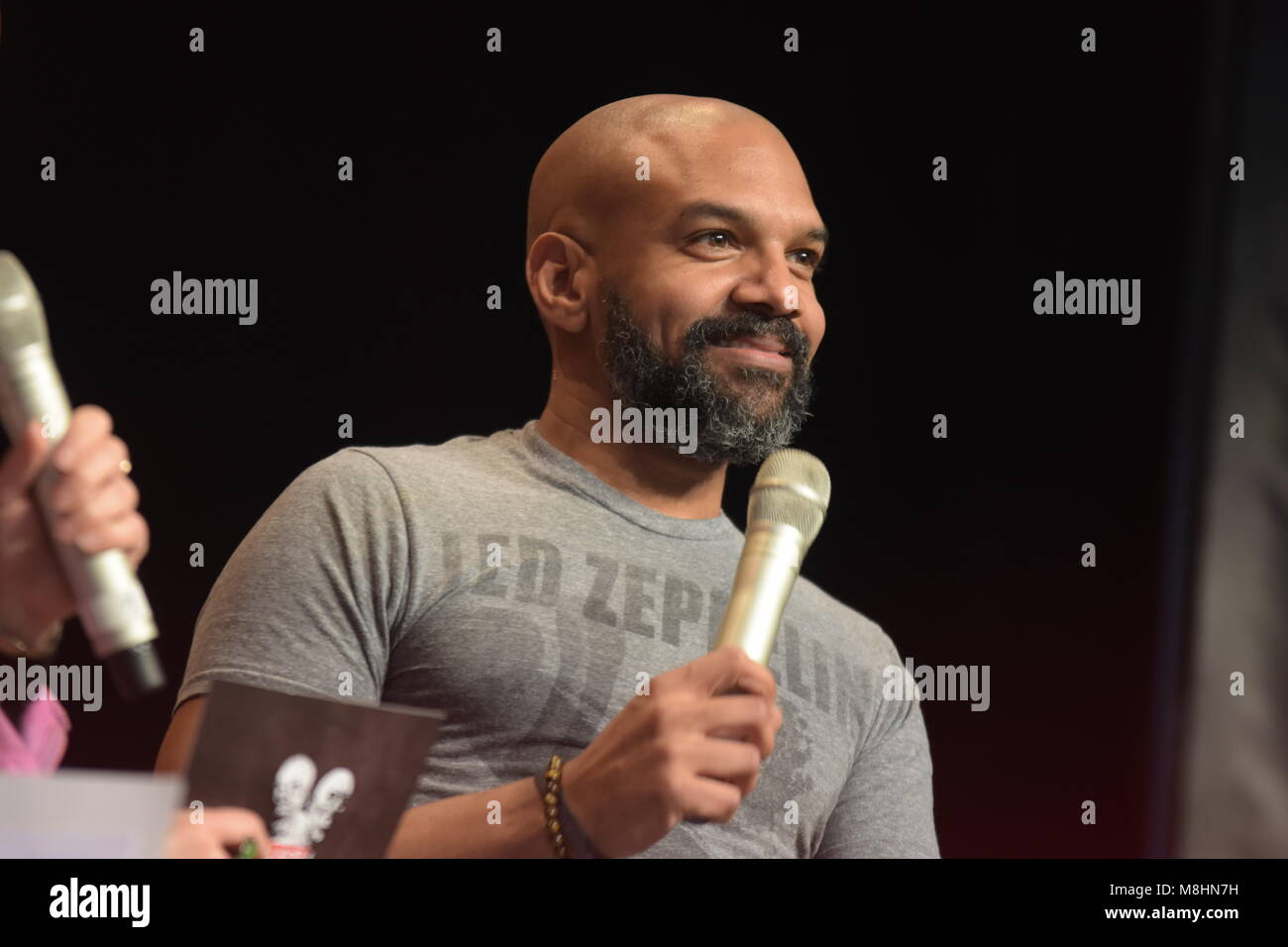 MANNHEIM, GERMANY - MARCH 17: Actor Khary Payton (Ezekiel on The Walking Dead) at the Walker Stalker Germany convention. - Stock Image