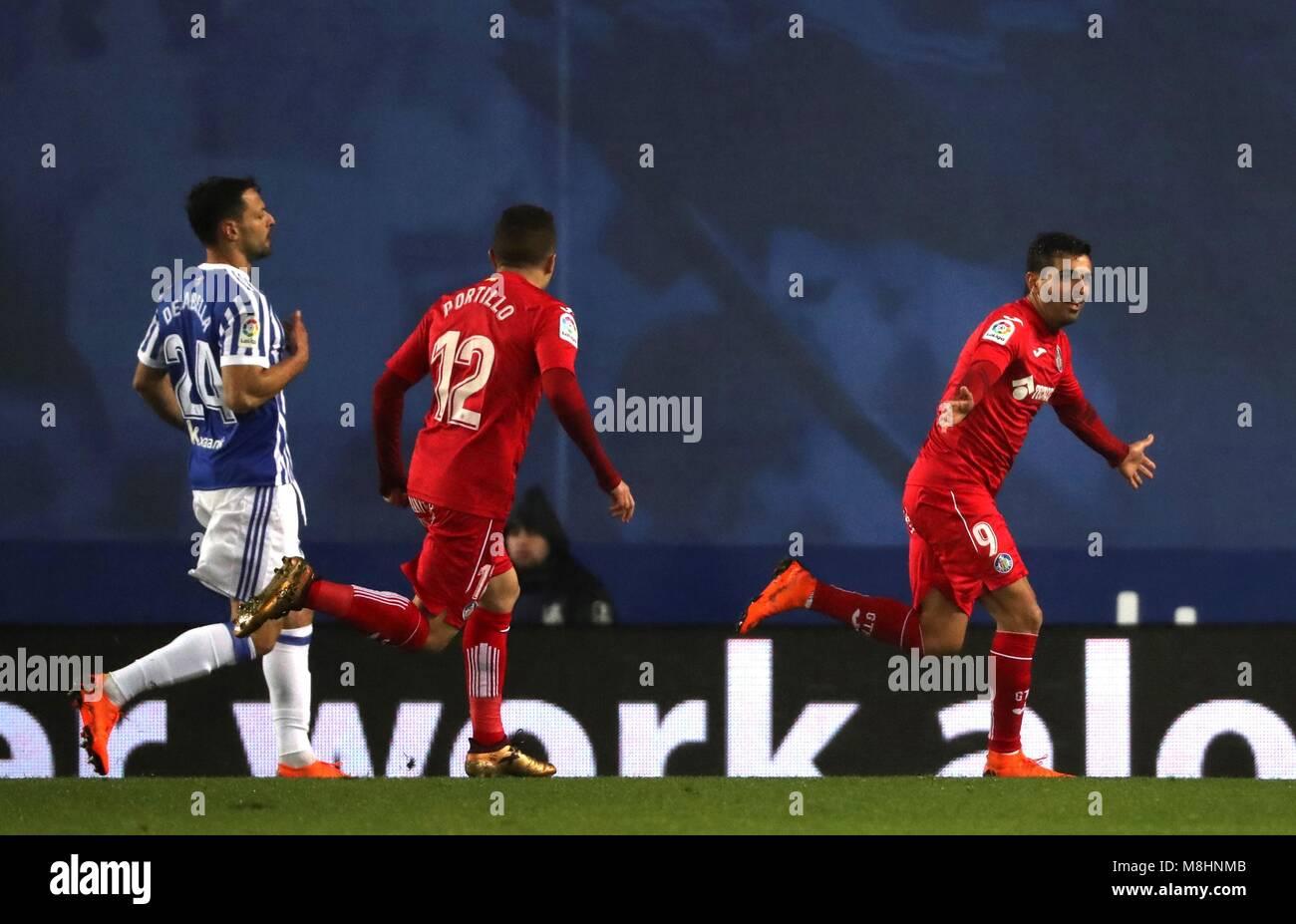 Getafe s Angel Rodríguez (R) celebrates a goal during the Spanish Primera  Division Liga soccer c58a0288632b8