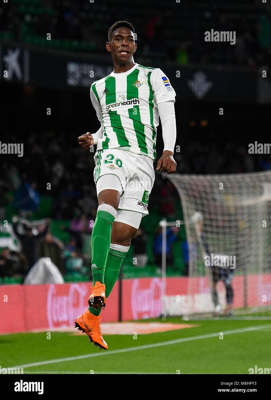 Sevilla; SPAIN-MARCH 17: Junior of Real Betis celebrates 1-0 during the Liga Santander match between Real Betis - Stock Image