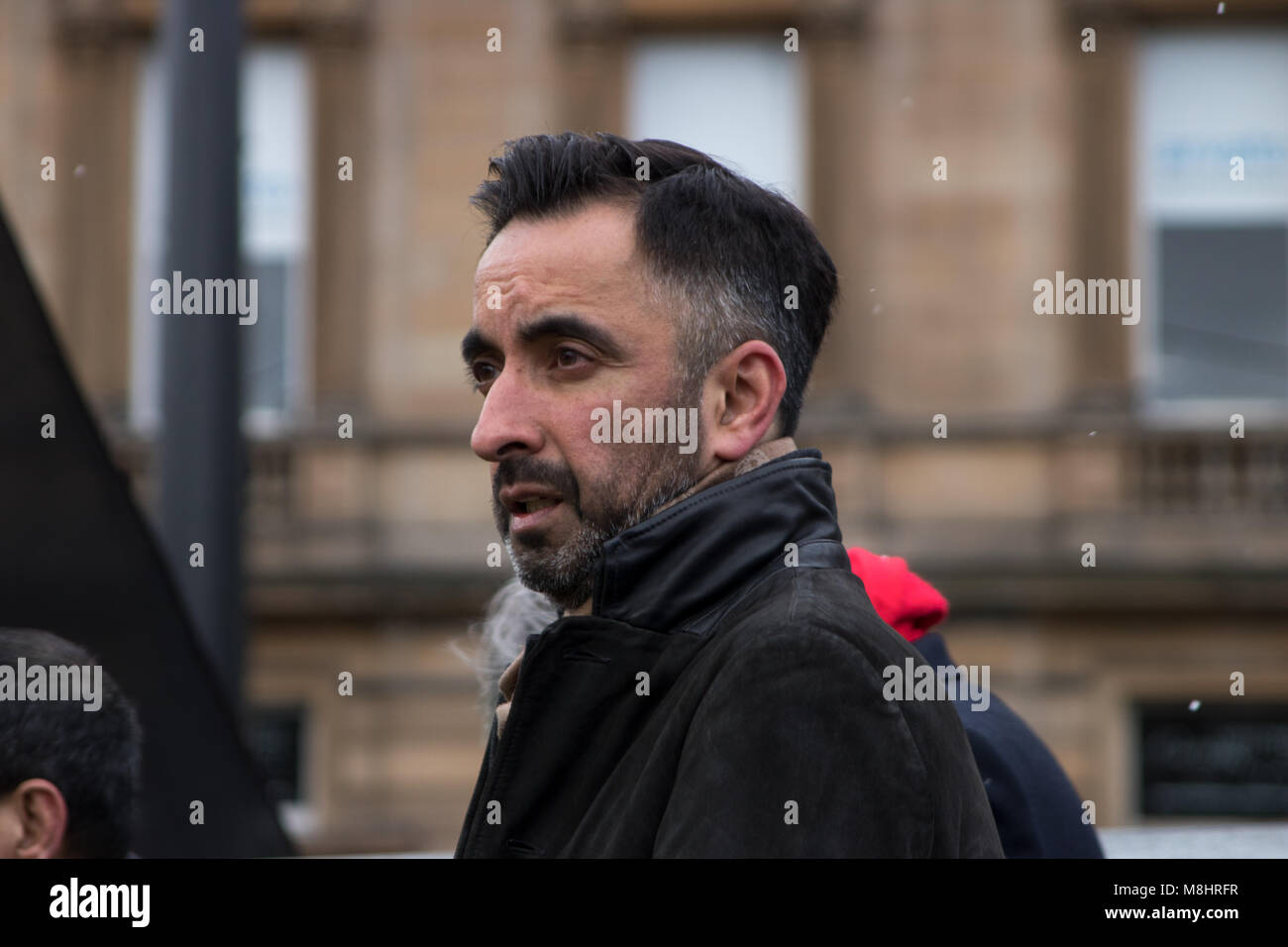 Glasgow, Scotland, UK. 17th March, 2018. A March Against Racism has taken place in Glasgow, with protesters walking - Stock Image
