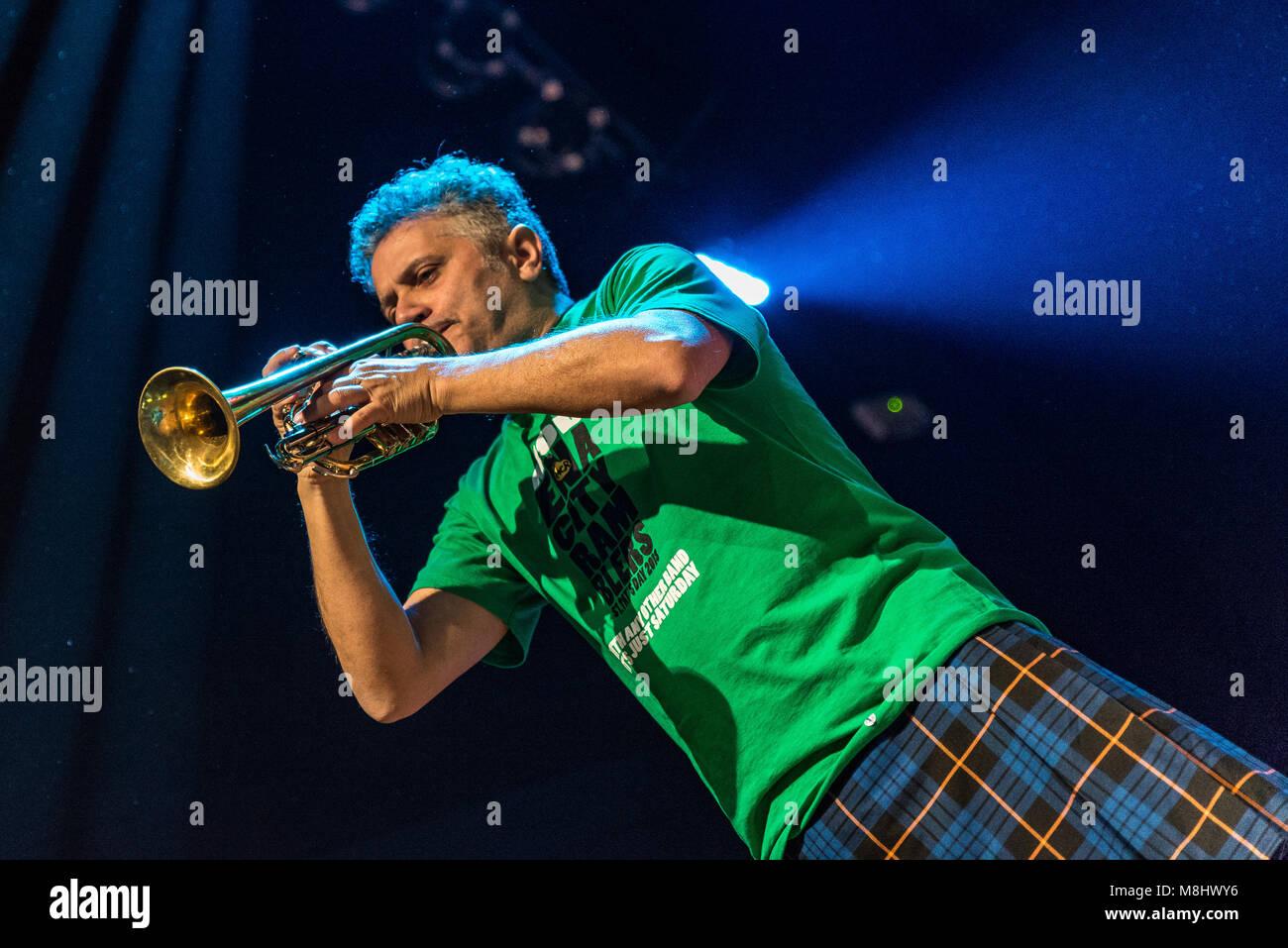 Milan, Italy. 16 March 2018. Italian folk rock band Modena City Ramblers performs at Live Music Club. Brambilla - Stock Image