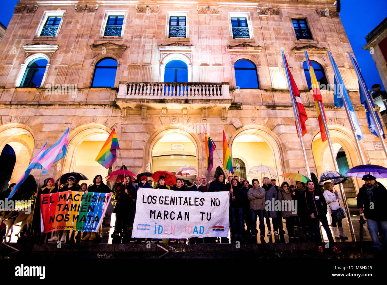 Gijon, Spain. 17th March, 2018.  People are manifested for raising awareness of discrimination faced by transgender - Stock Image