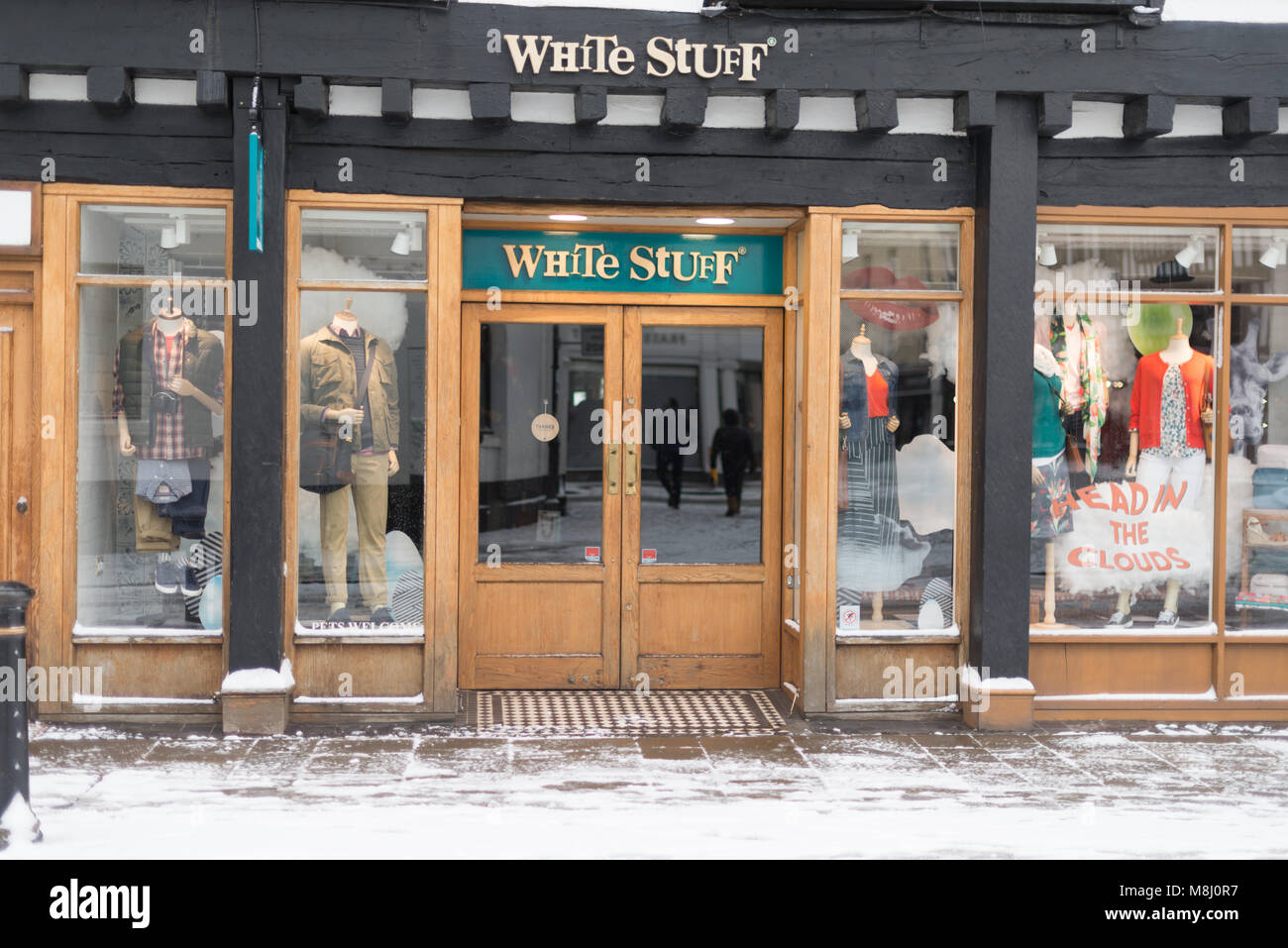 39f820b4edd4 Stratford upon Avon England March 18th 2018 white stuff shop with snow in  front after beast from the east Credit  paul rushton Alamy Live News