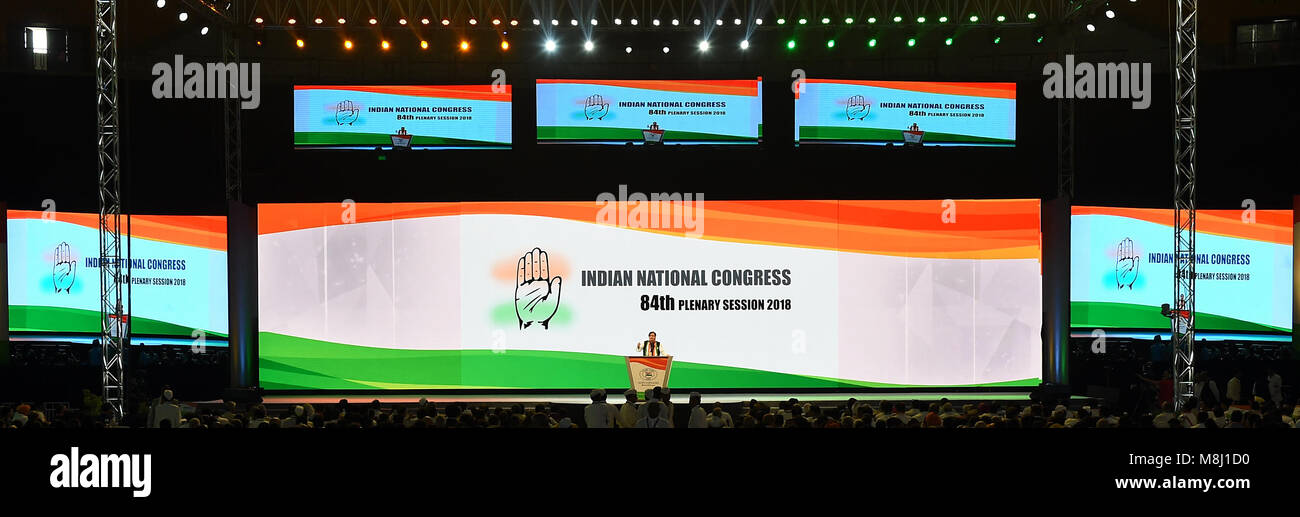New Delhi. 17th Mar, 2018. A delegate speaks at the 84th plenary session of the Indian National Congress (INC) party - Stock Image