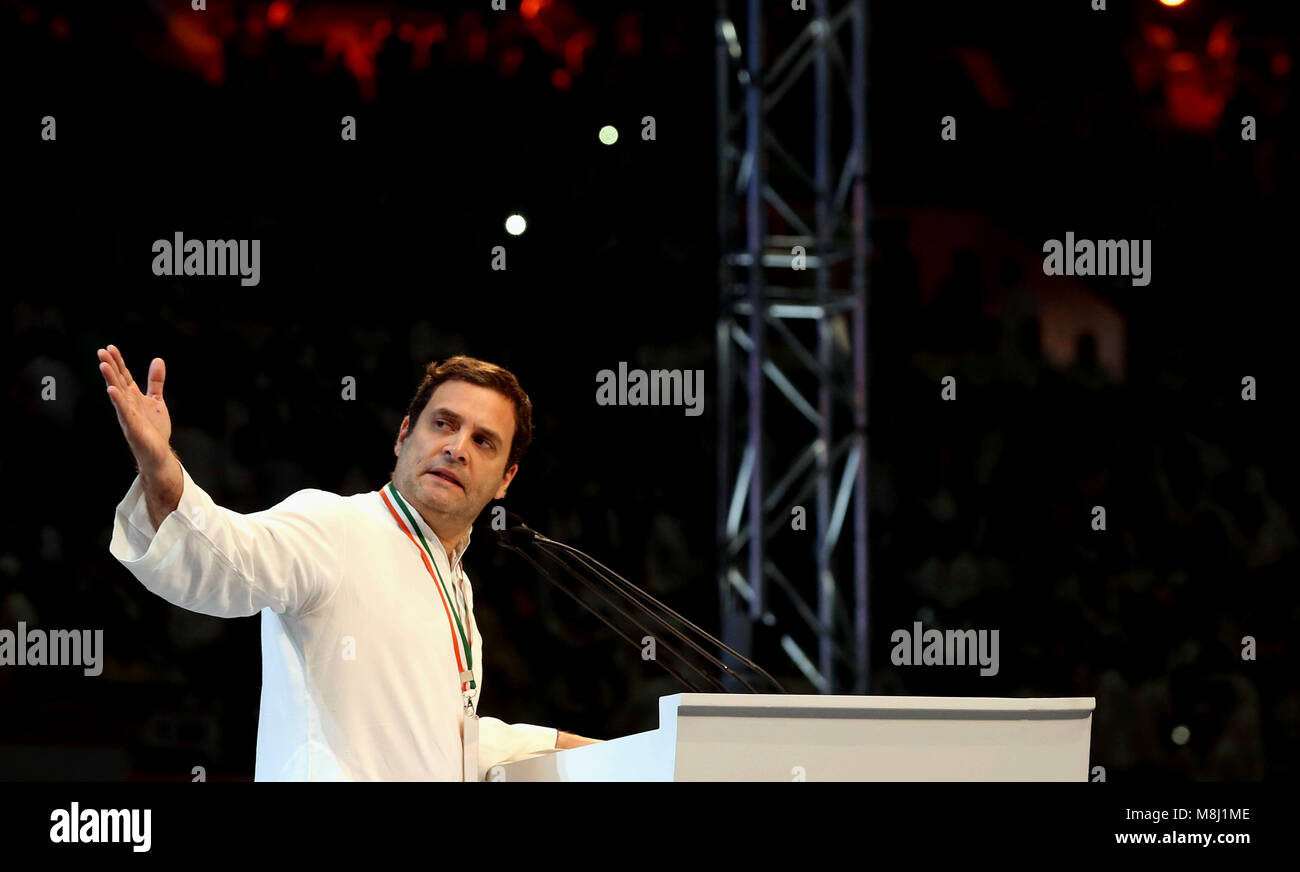 New Delhi. 17th Mar, 2018. President of the Indian National Congress (INC) party Rahul Gandhi addresses the 84th - Stock Image