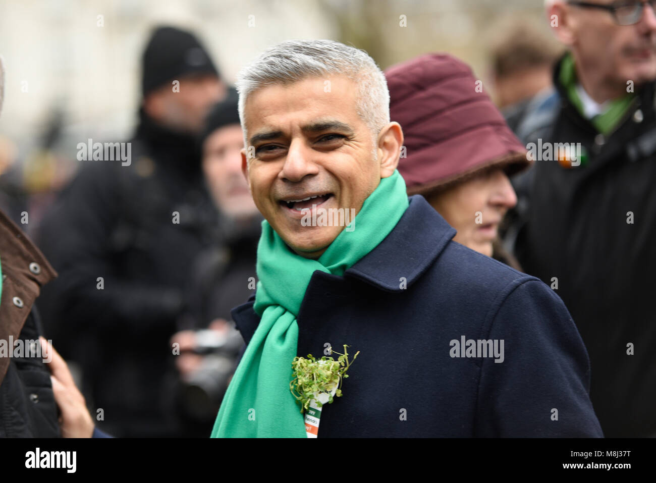 St Patrick's Day Parade, London, 2018. The traditional parade was headed by Mayor of London Sadiq Khan and celebrities - Stock Image