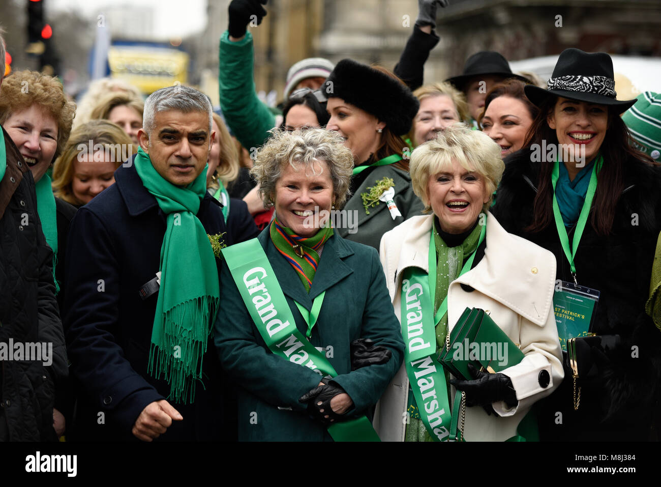 St Patrick's Day Parade, London, 2018. The traditional parade was headed by Mayor of London Sadiq Khan, Grand - Stock Image
