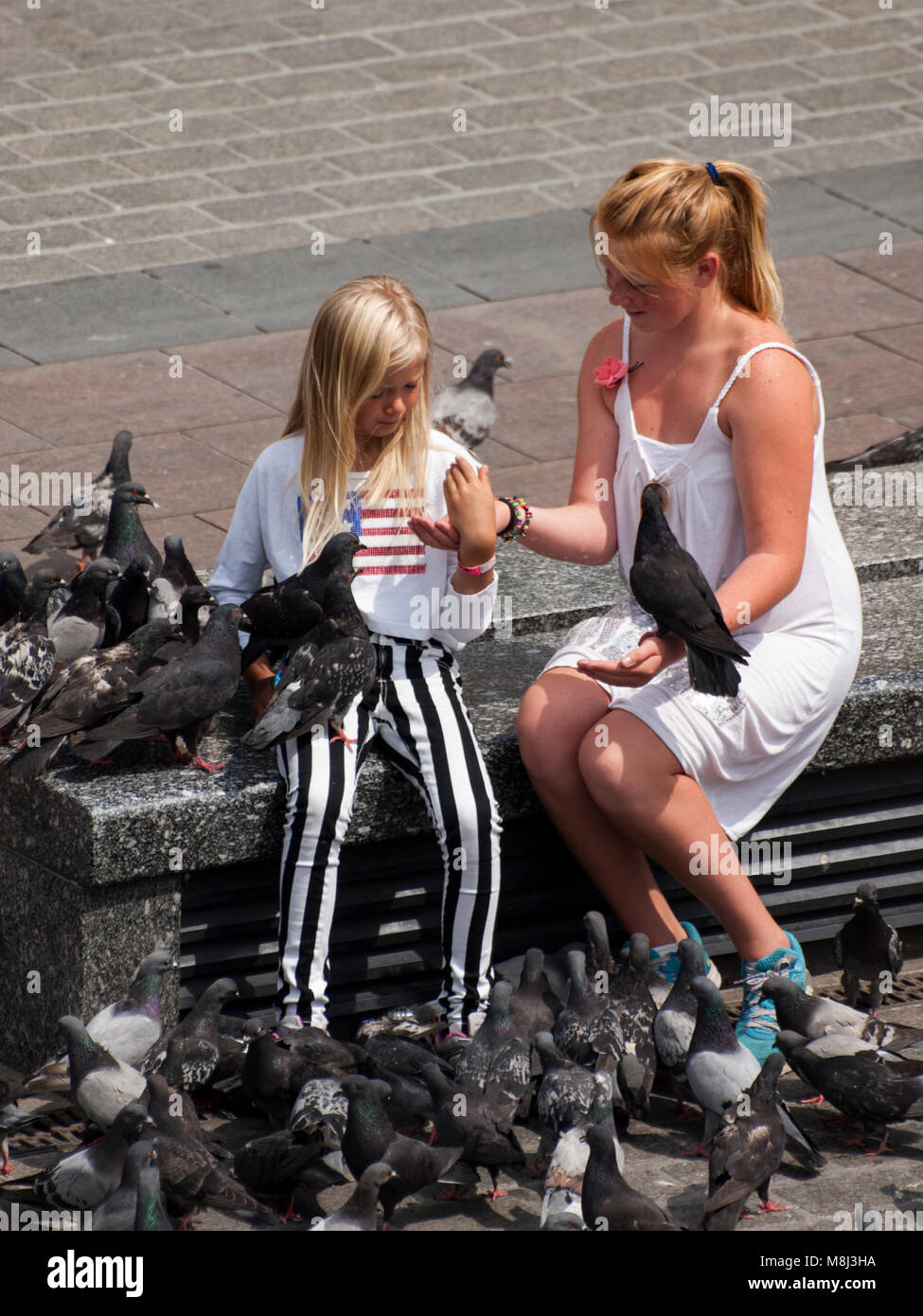 two teenage girls feeding pigeons in the Main Square, Krakow. - Stock Image