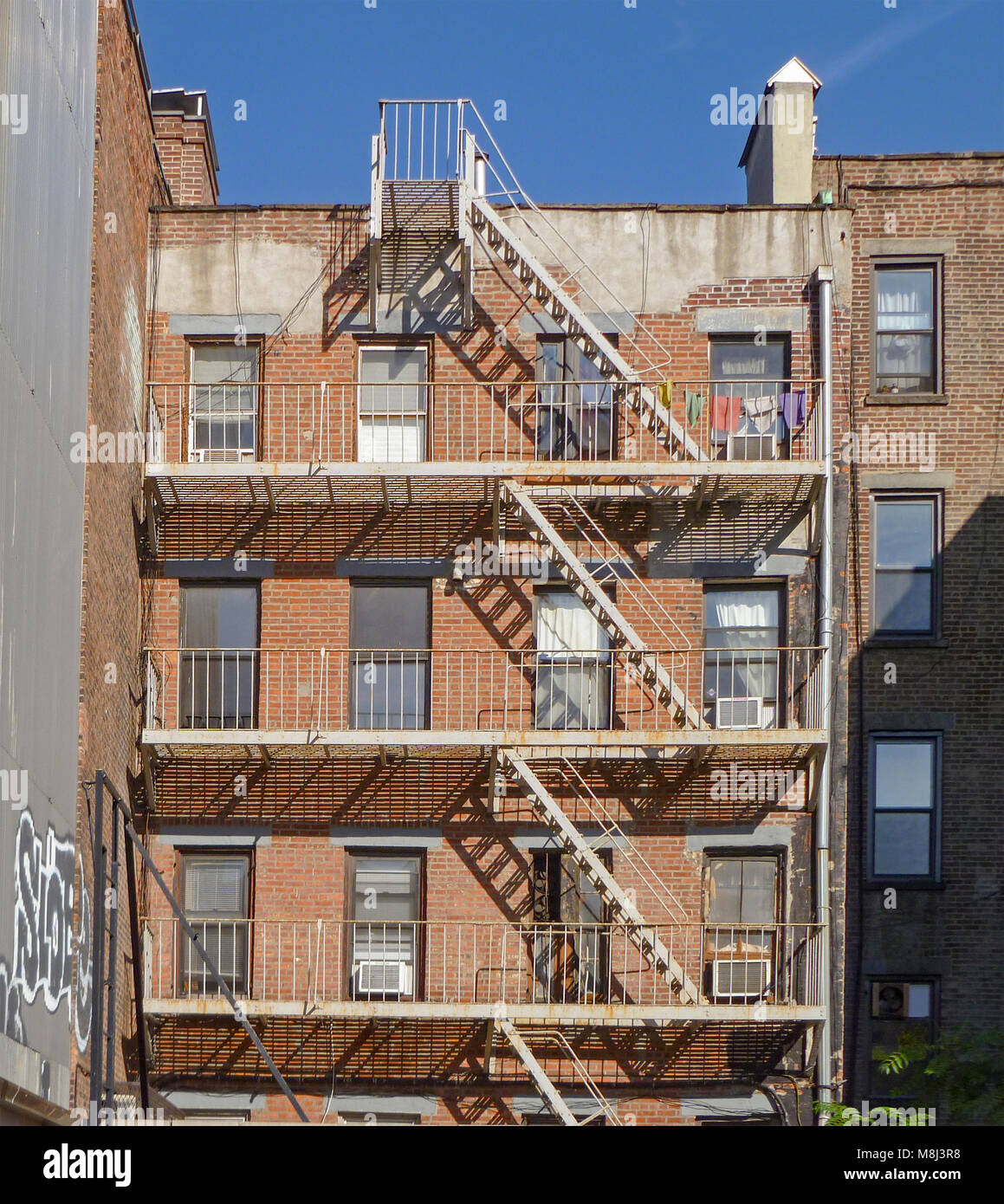 Fire Escape Of Small Old New York City Apartment Building   Stock Image