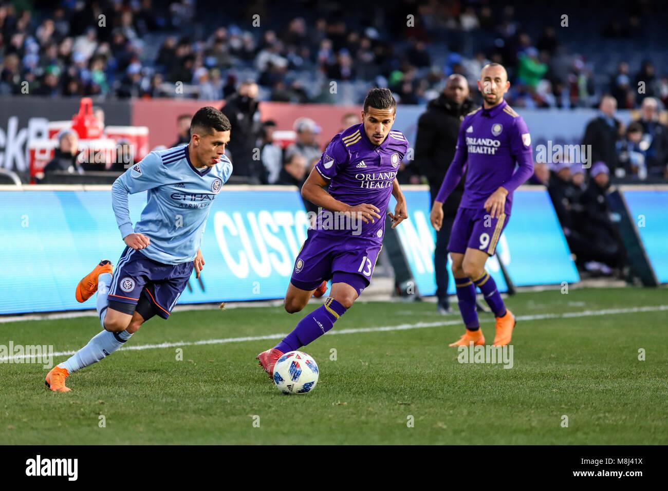 NYCFC vs. Orlando City SC action at Yankee Stadium on 17th March 2018. NYCFC won 2-0. Jesus Medina (19) dribbles. Stock Photo