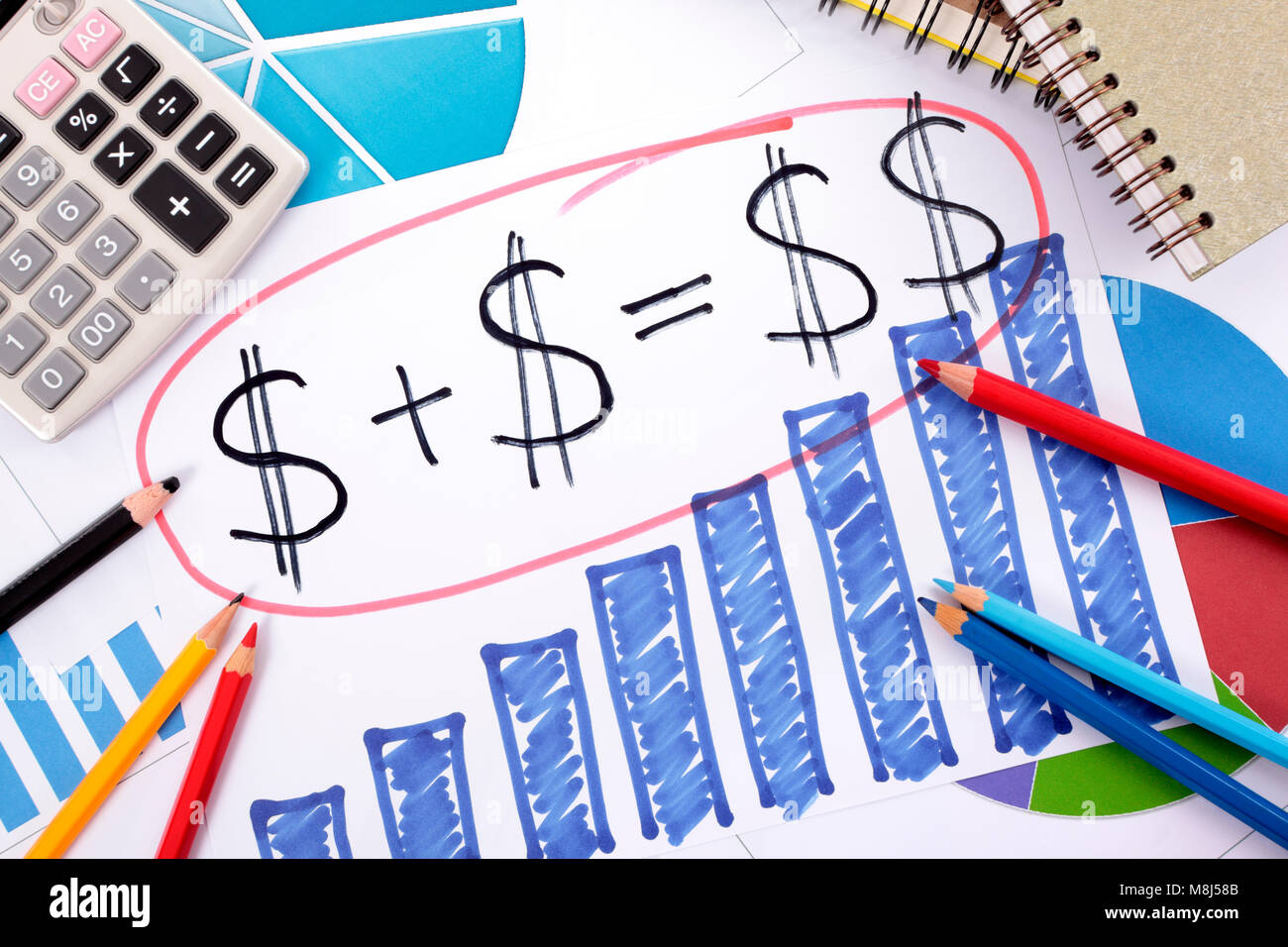 Simple savings or retirement formula written on a hand drawn bar simple savings or retirement formula written on a hand drawn bar chart surrounded by calculator books and pencils ccuart Image collections